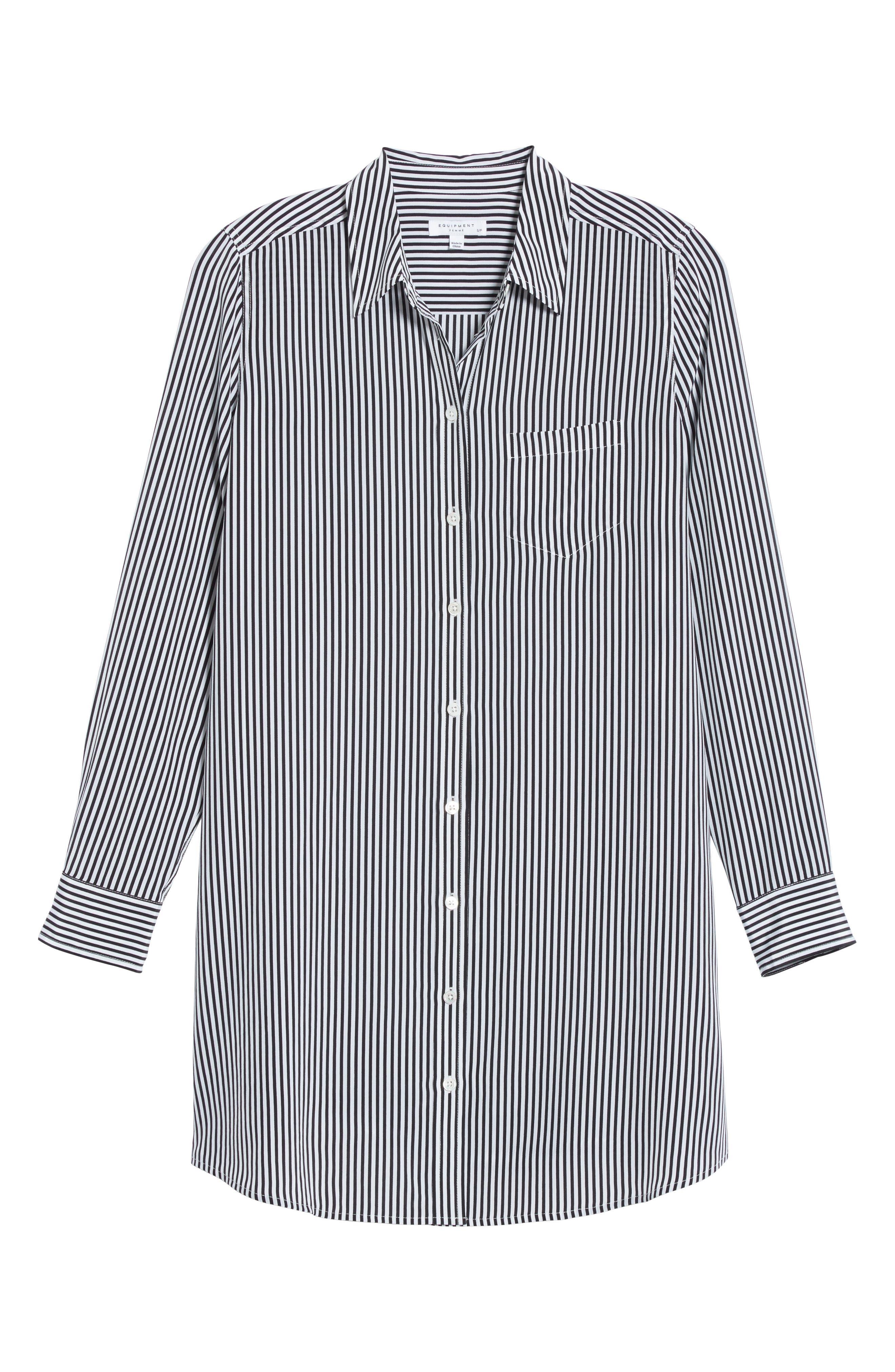 Brett Stripe Silk Shirtdress,                             Alternate thumbnail 6, color,                             002