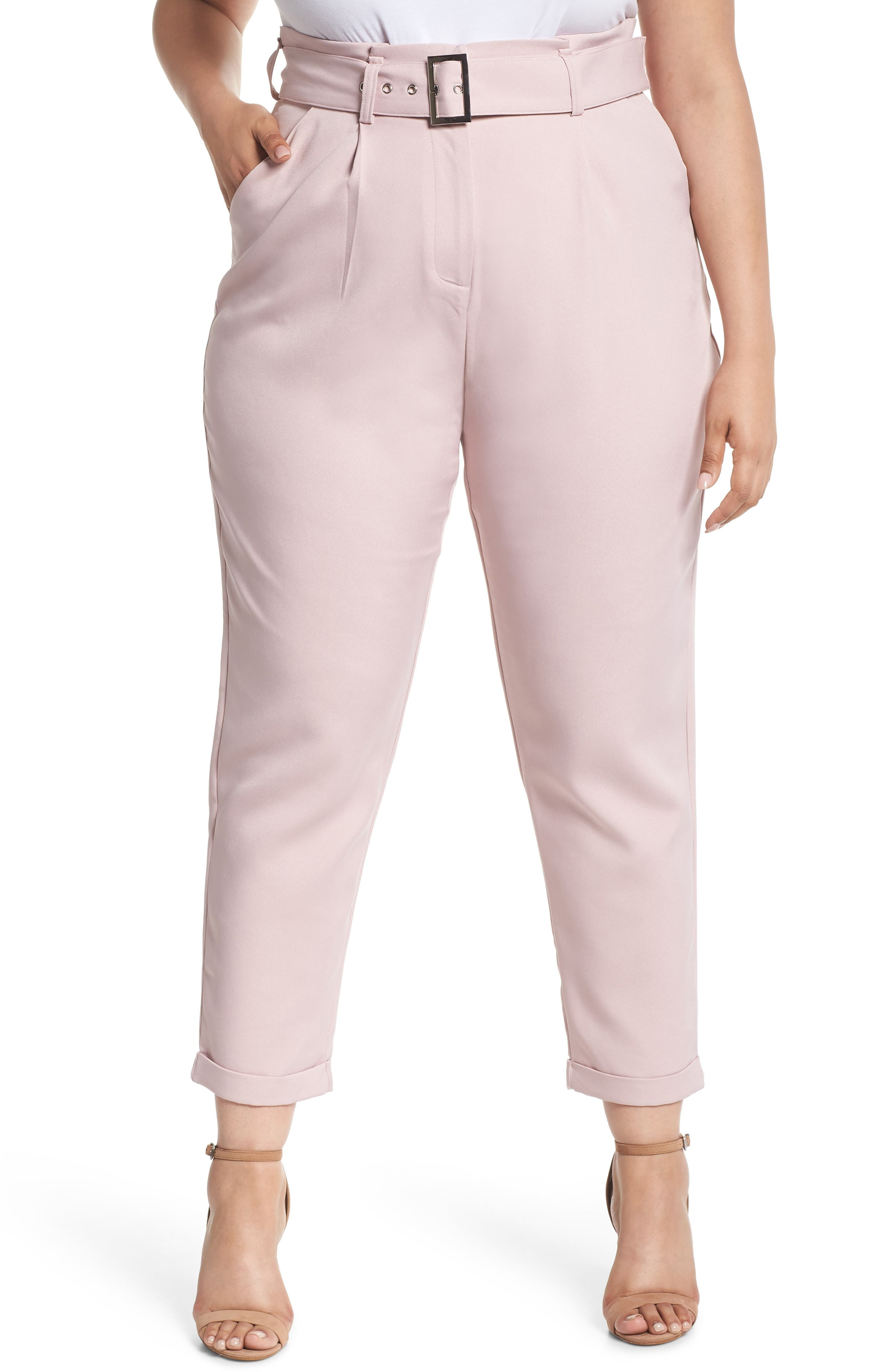 LOST INK Belted Peg Trousers, Main, color, 680