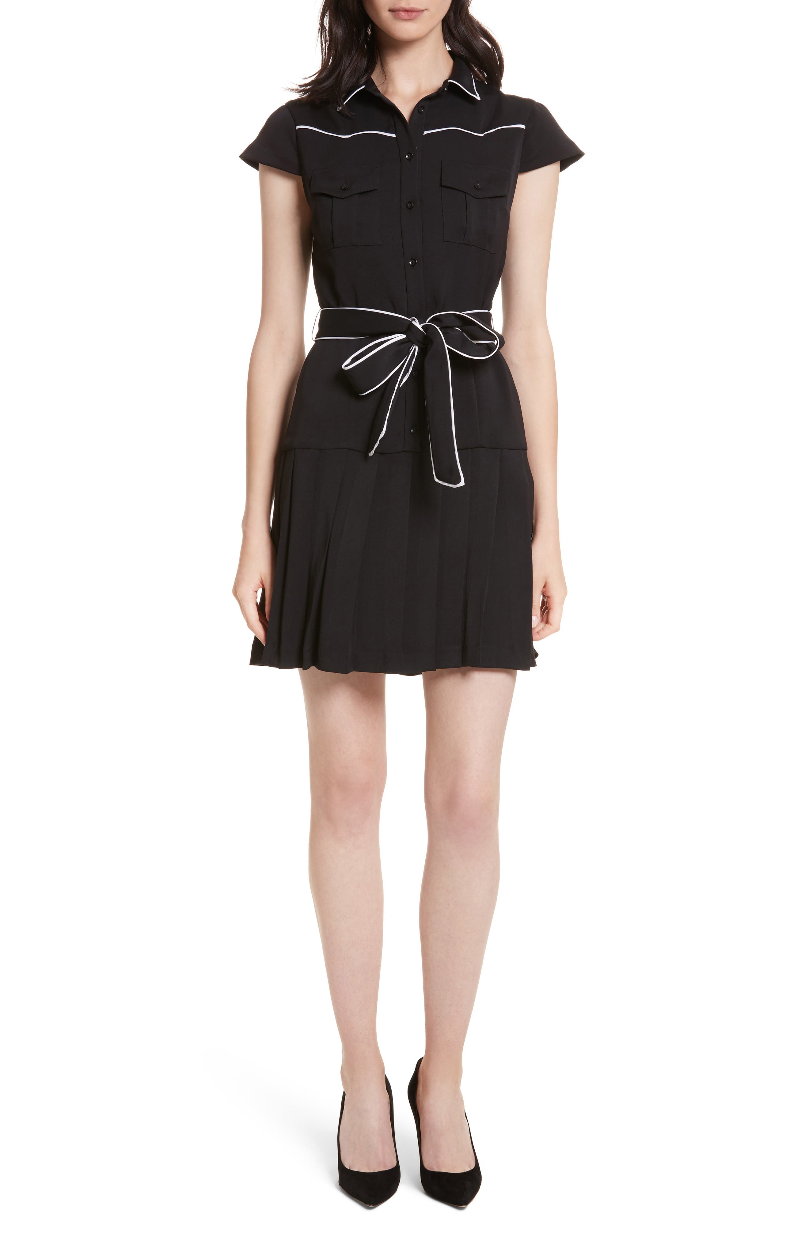 Pleated Shirtdress,                         Main,                         color, 009
