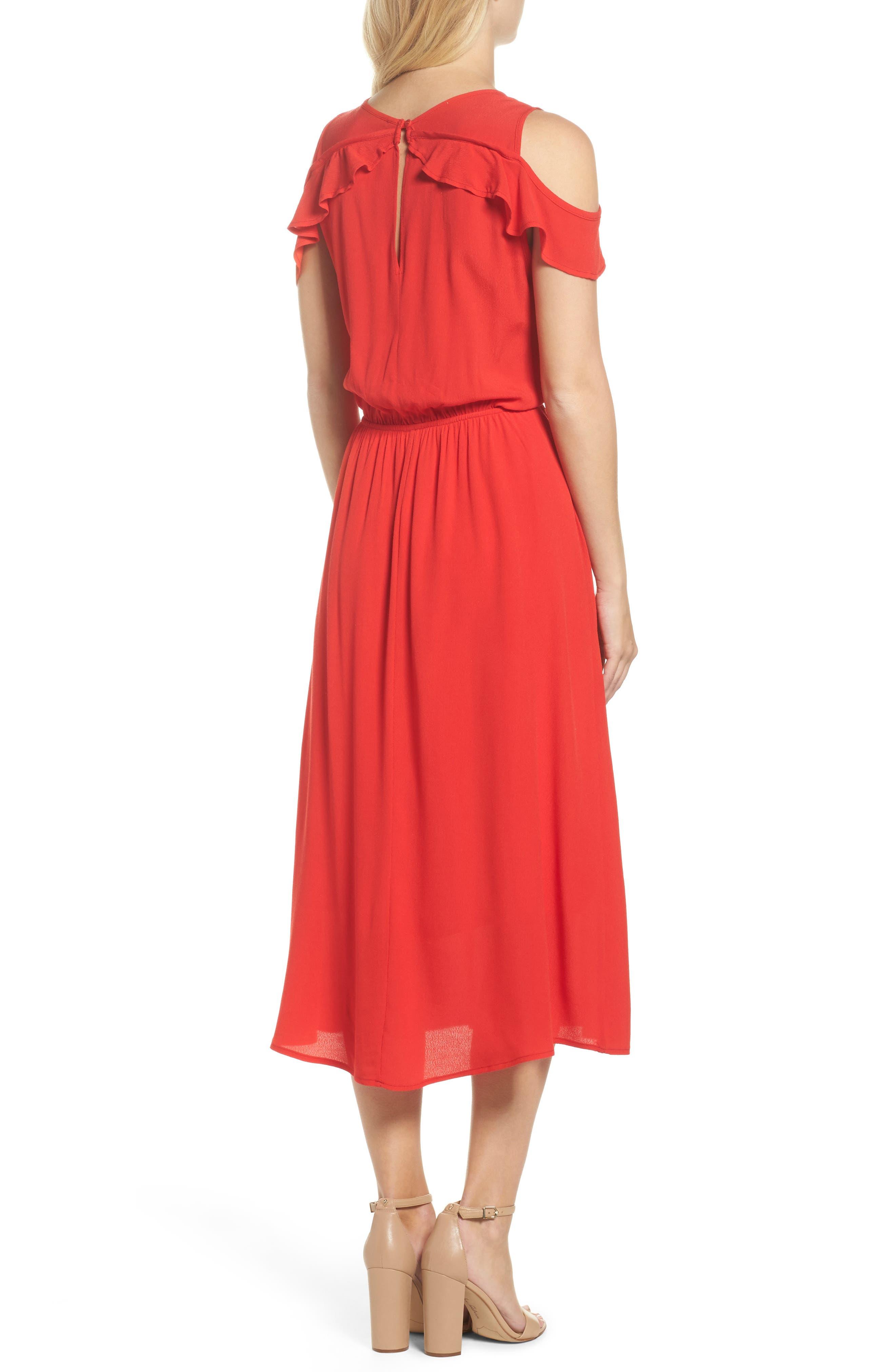 Cold Shoulder Midi Dress,                             Alternate thumbnail 2, color,                             600