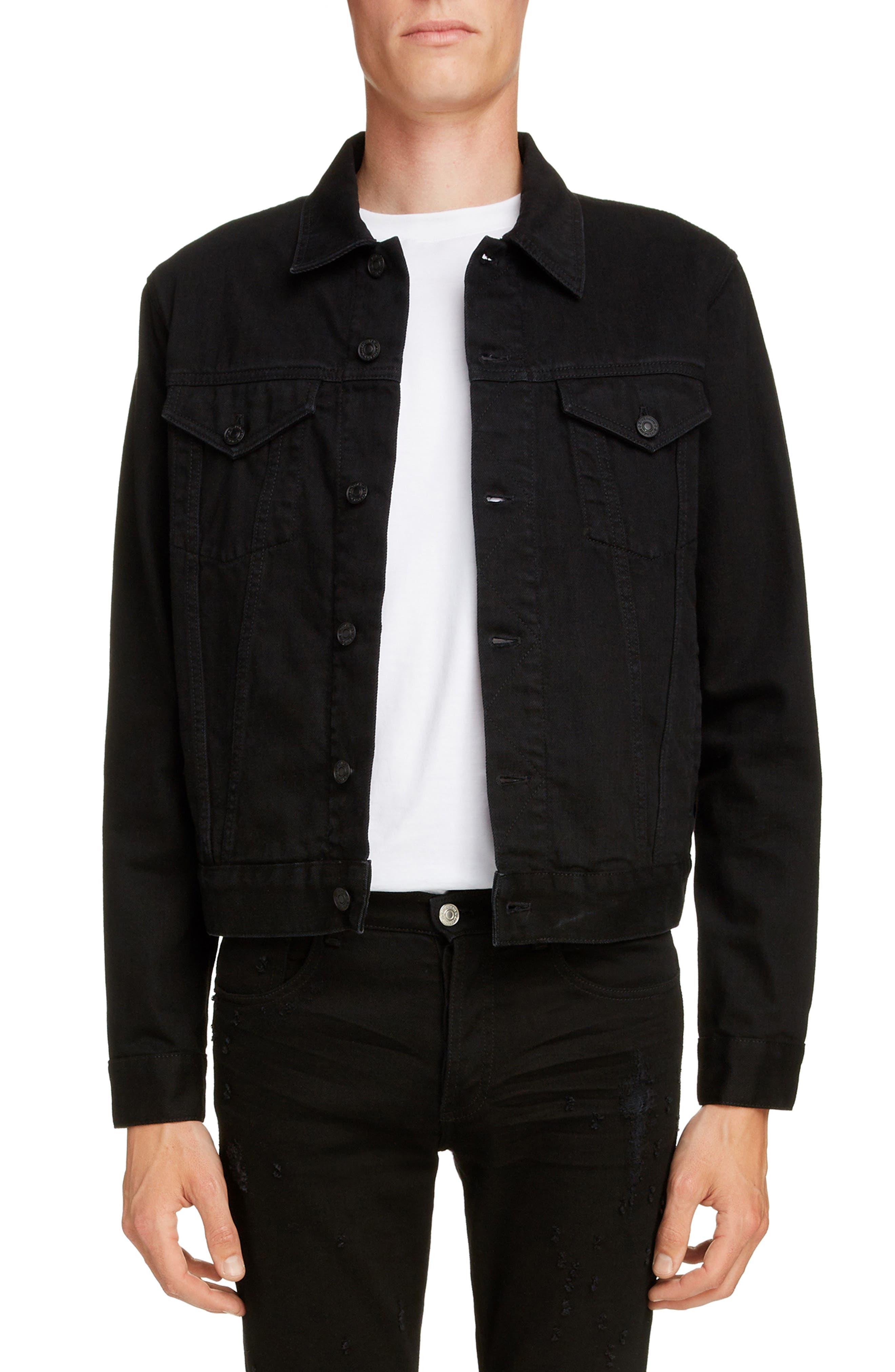 GIVENCHY Logo Denim Jacket, Main, color, BLACK