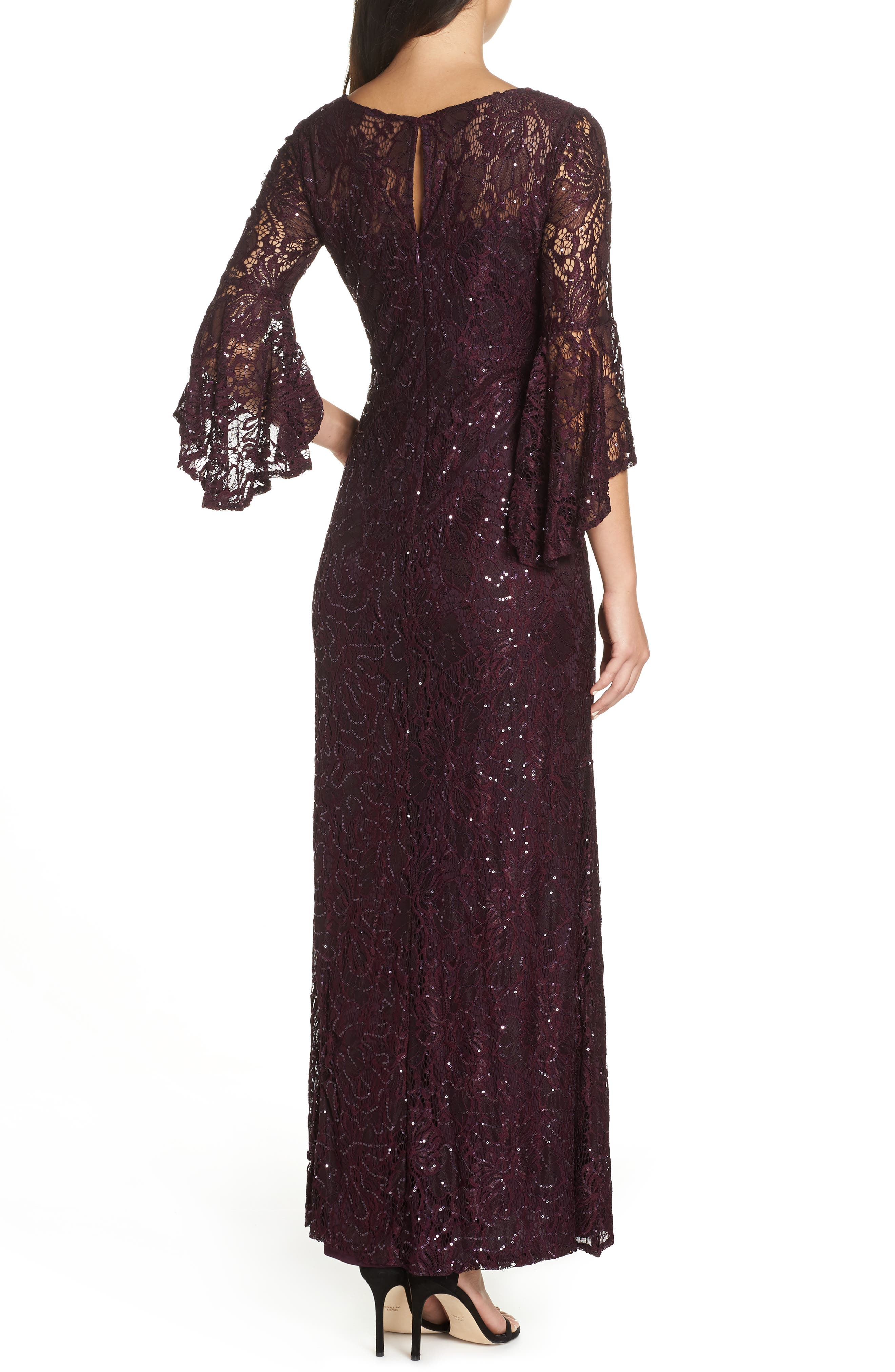 Sequin Embellished Gown,                             Alternate thumbnail 2, color,                             MULBERRY