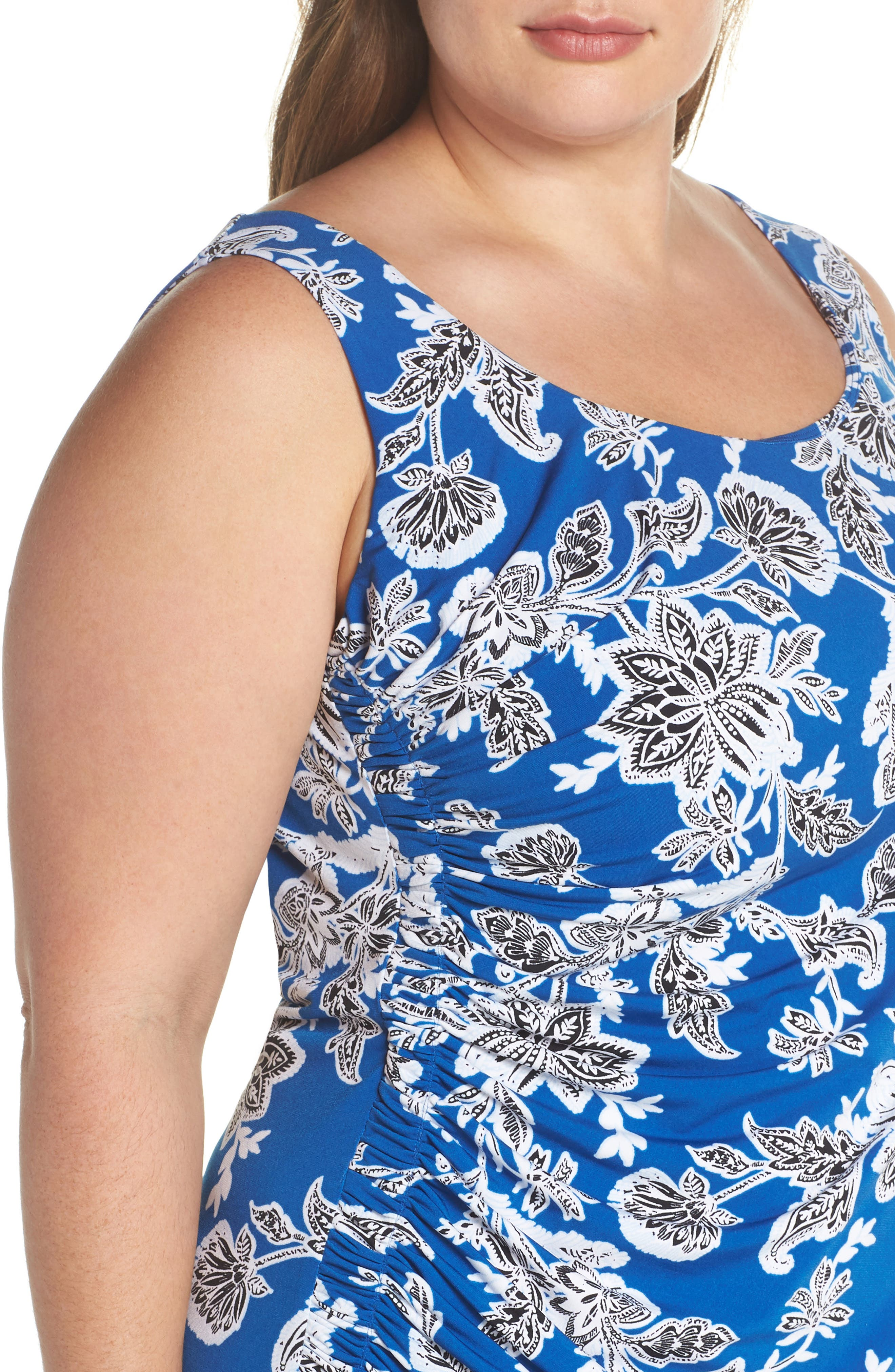 Woodblock Floral Side Ruched Body-Con Dress,                             Alternate thumbnail 4, color,                             AMALFI