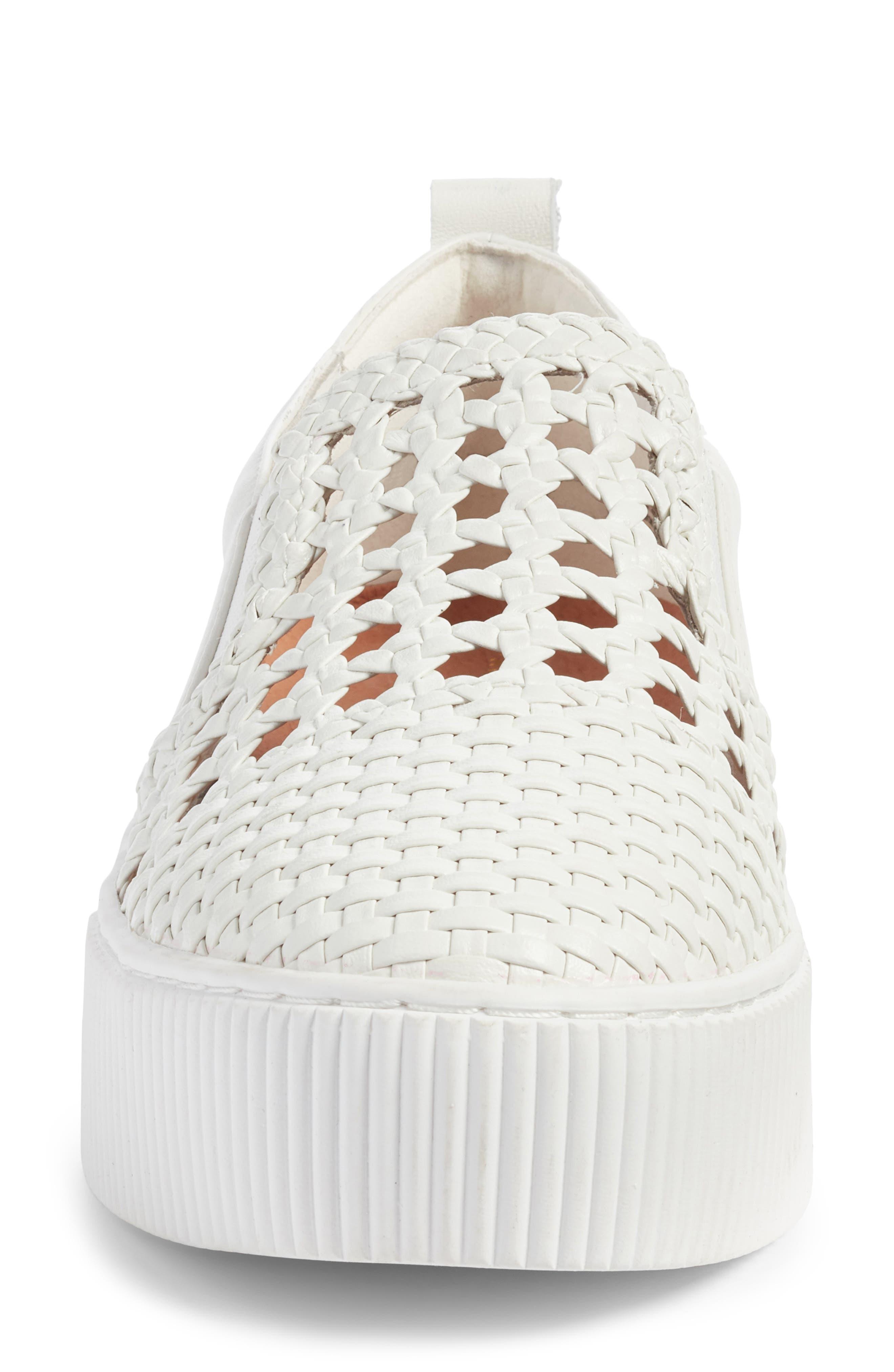 Baylee Slip-On Sneaker,                             Alternate thumbnail 4, color,                             WHITE WOVEN