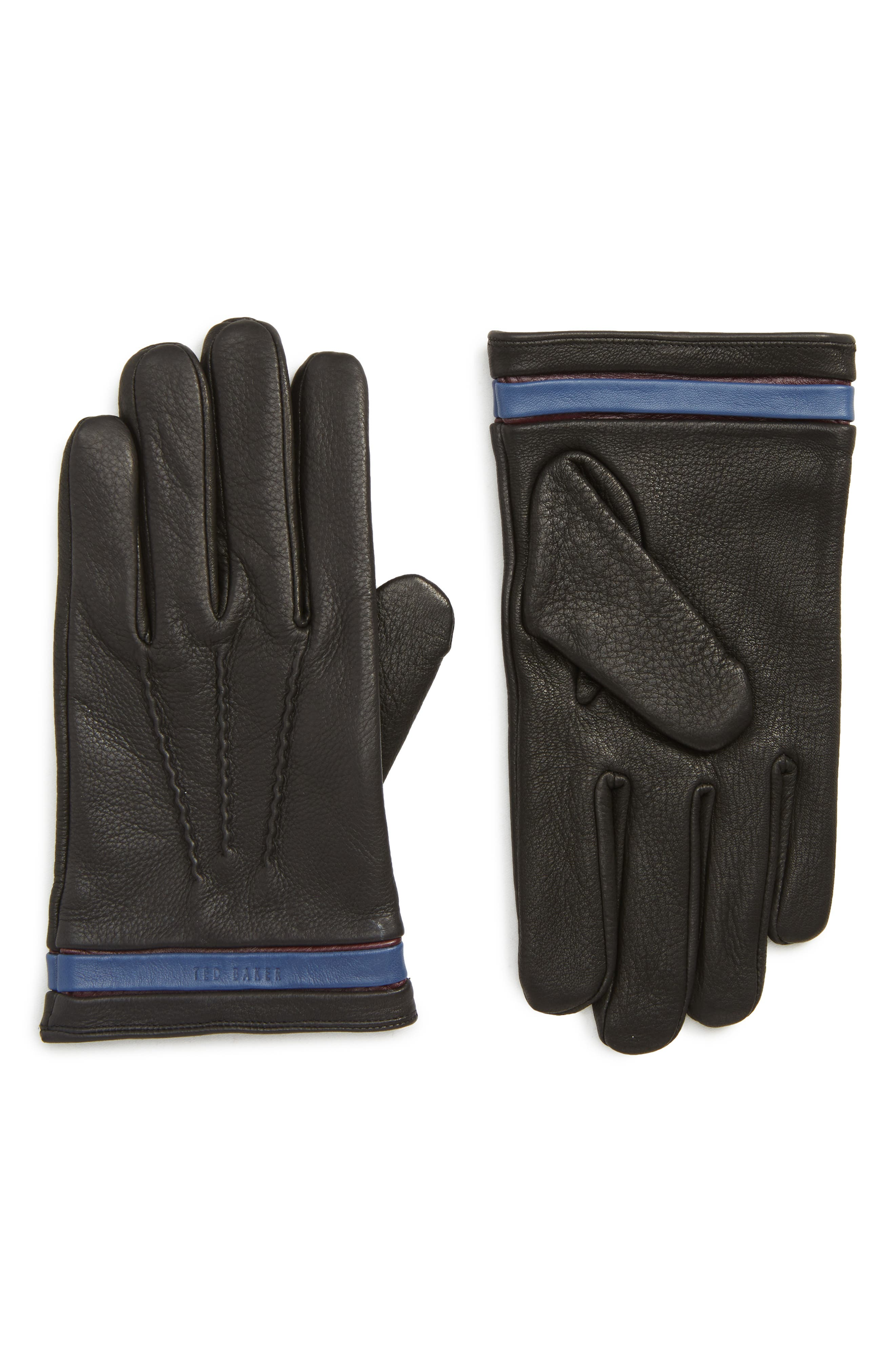 TED BAKER LONDON,                             Tipped Leather Touchscreen Gloves,                             Main thumbnail 1, color,                             BLACK