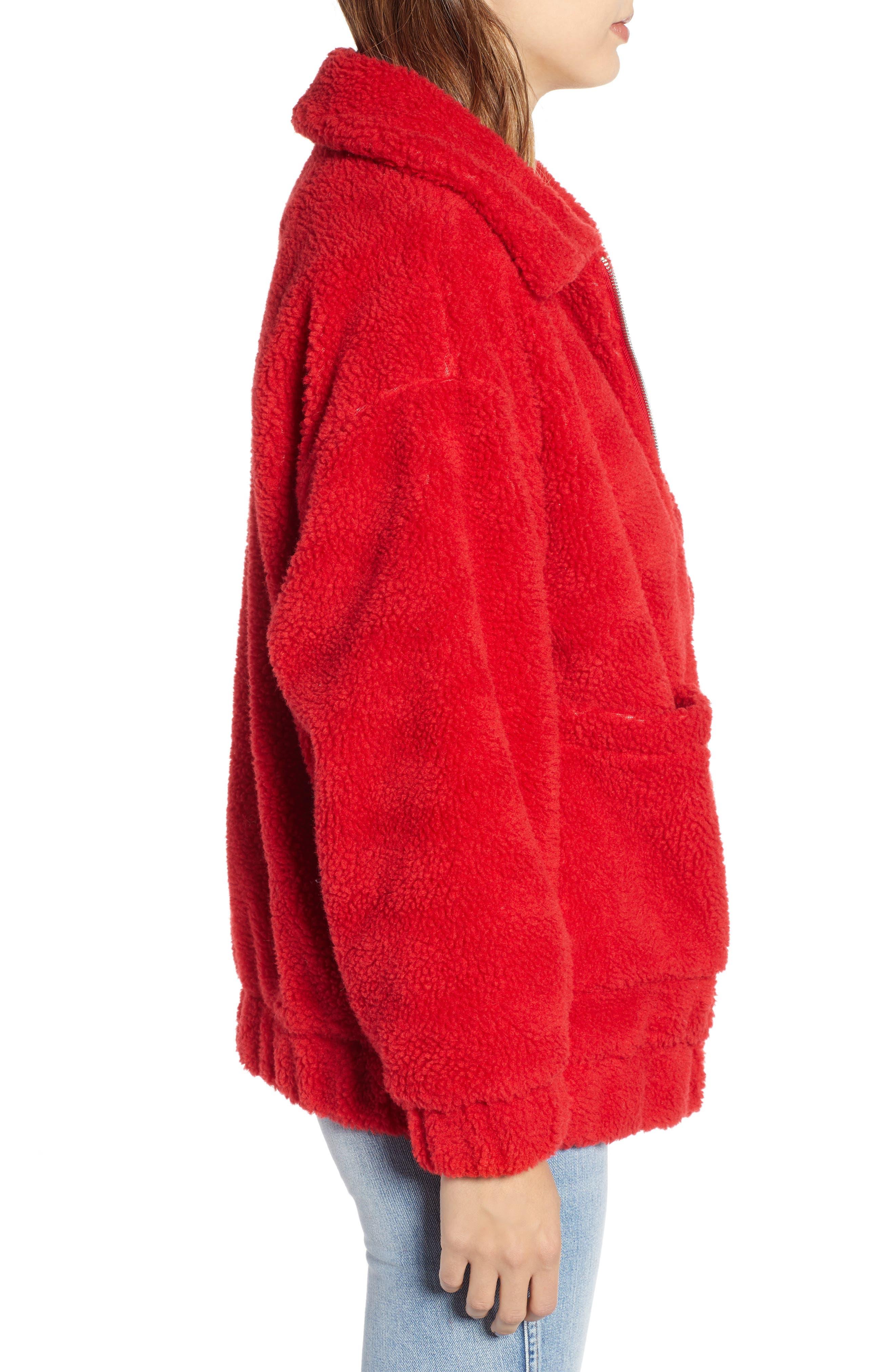Oversized Fleece Jacket,                             Alternate thumbnail 3, color,                             RED