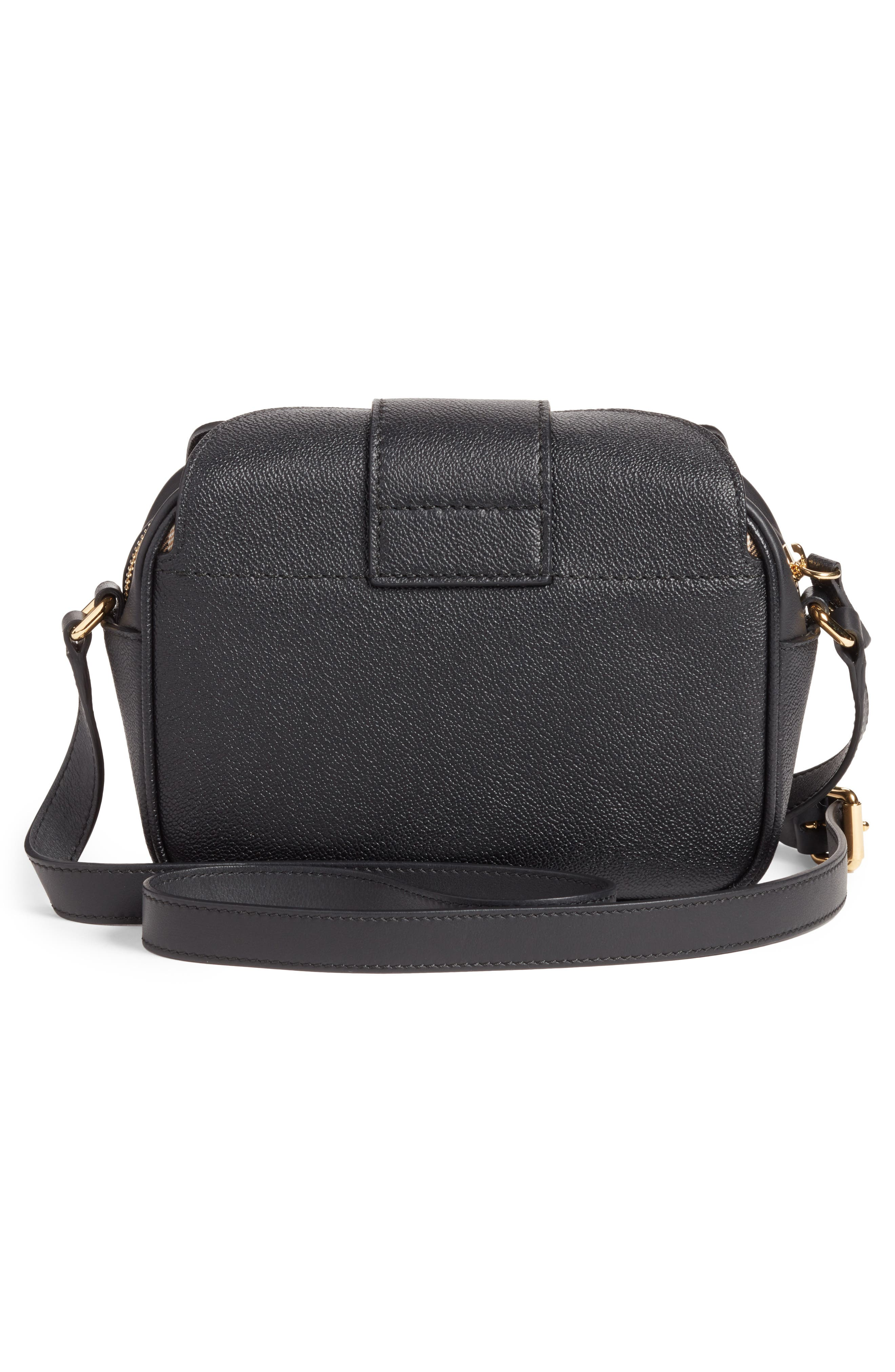 Small Buckle Leather Crossbody Bag,                             Alternate thumbnail 2, color,                             001