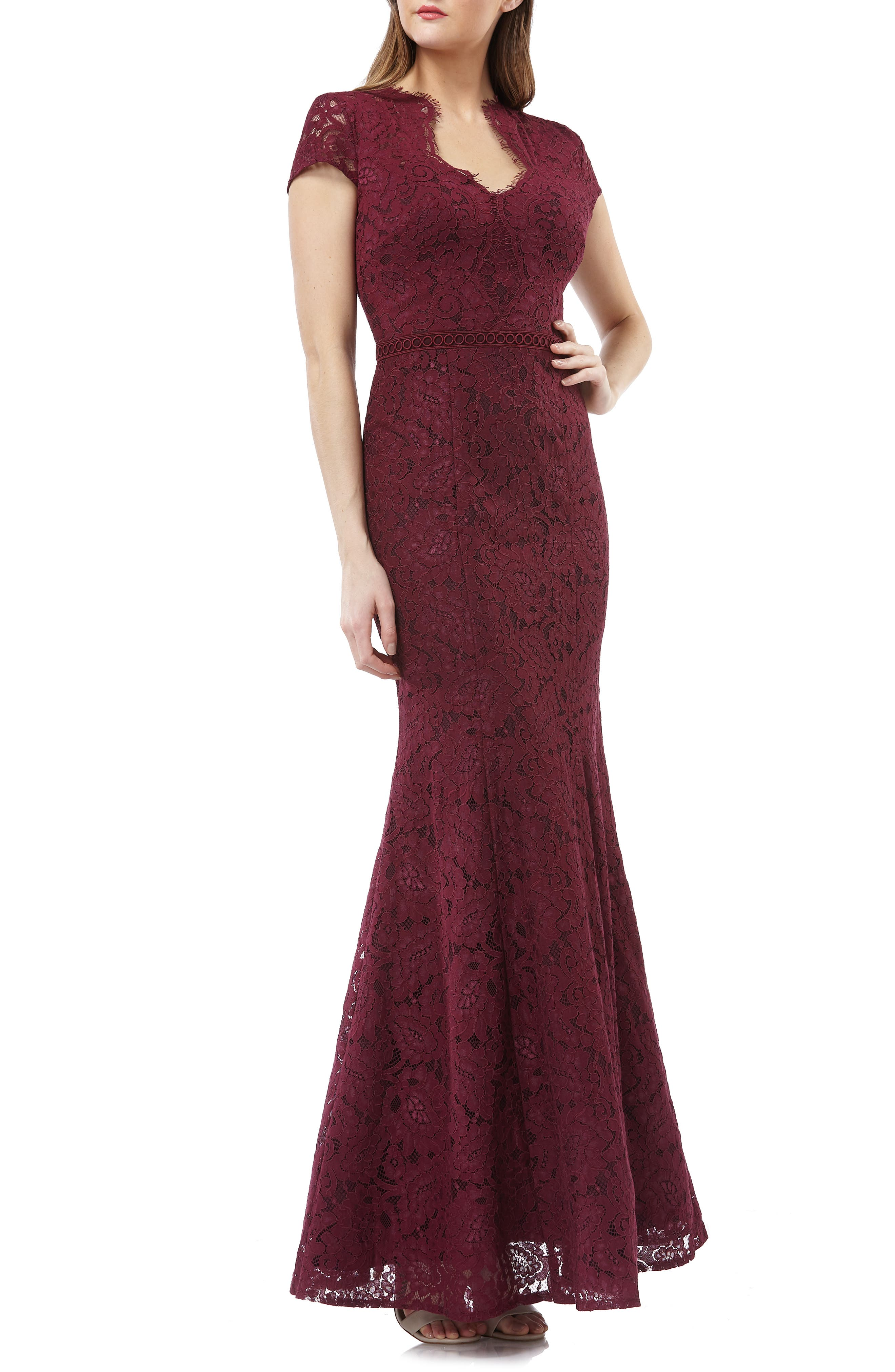 Js Collections Lace Mermaid Gown, Red
