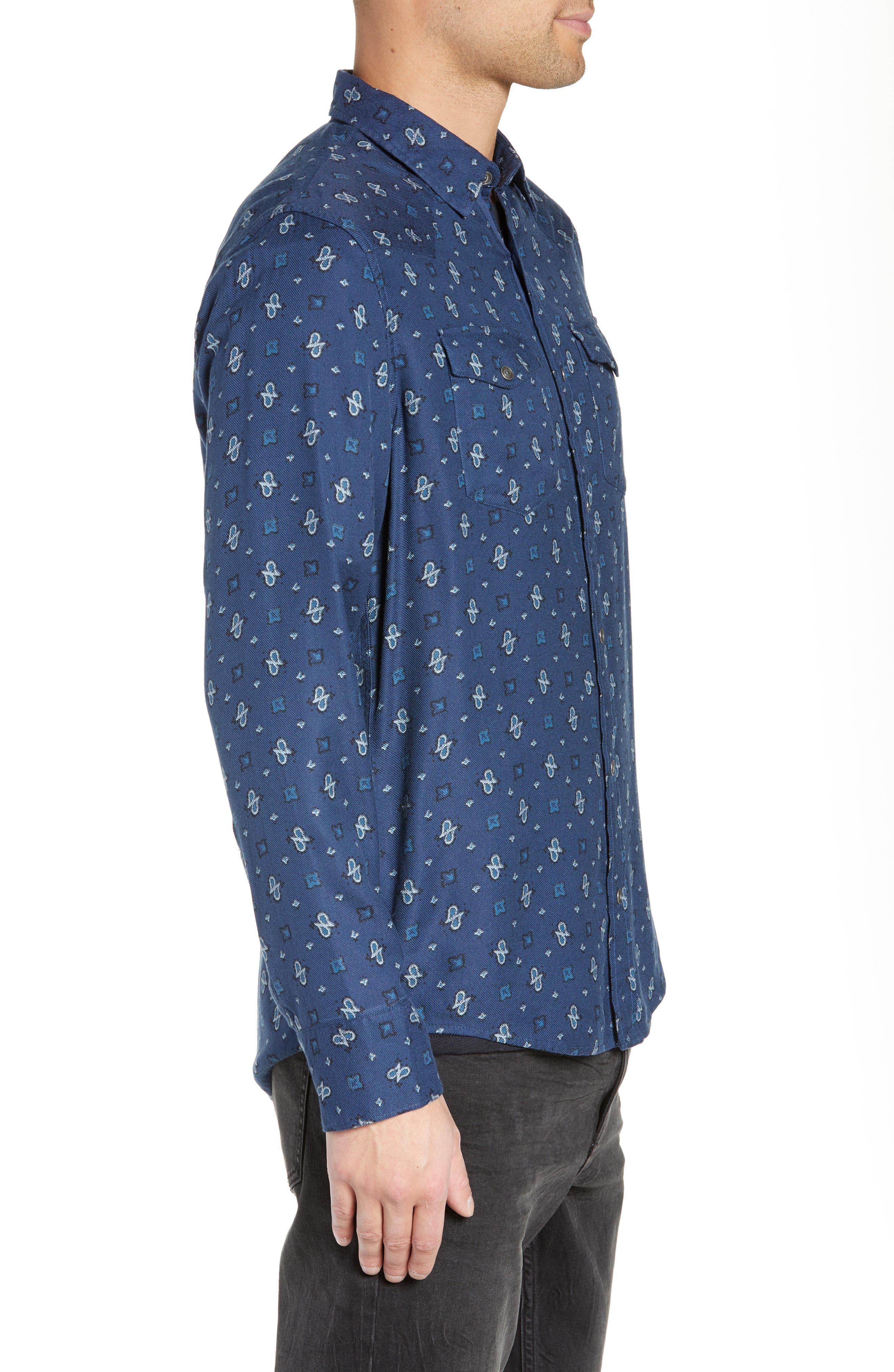 Regular Fit Paisley Western Shirt,                             Alternate thumbnail 4, color,                             BLUE CASPIA DESERT PAISLEY