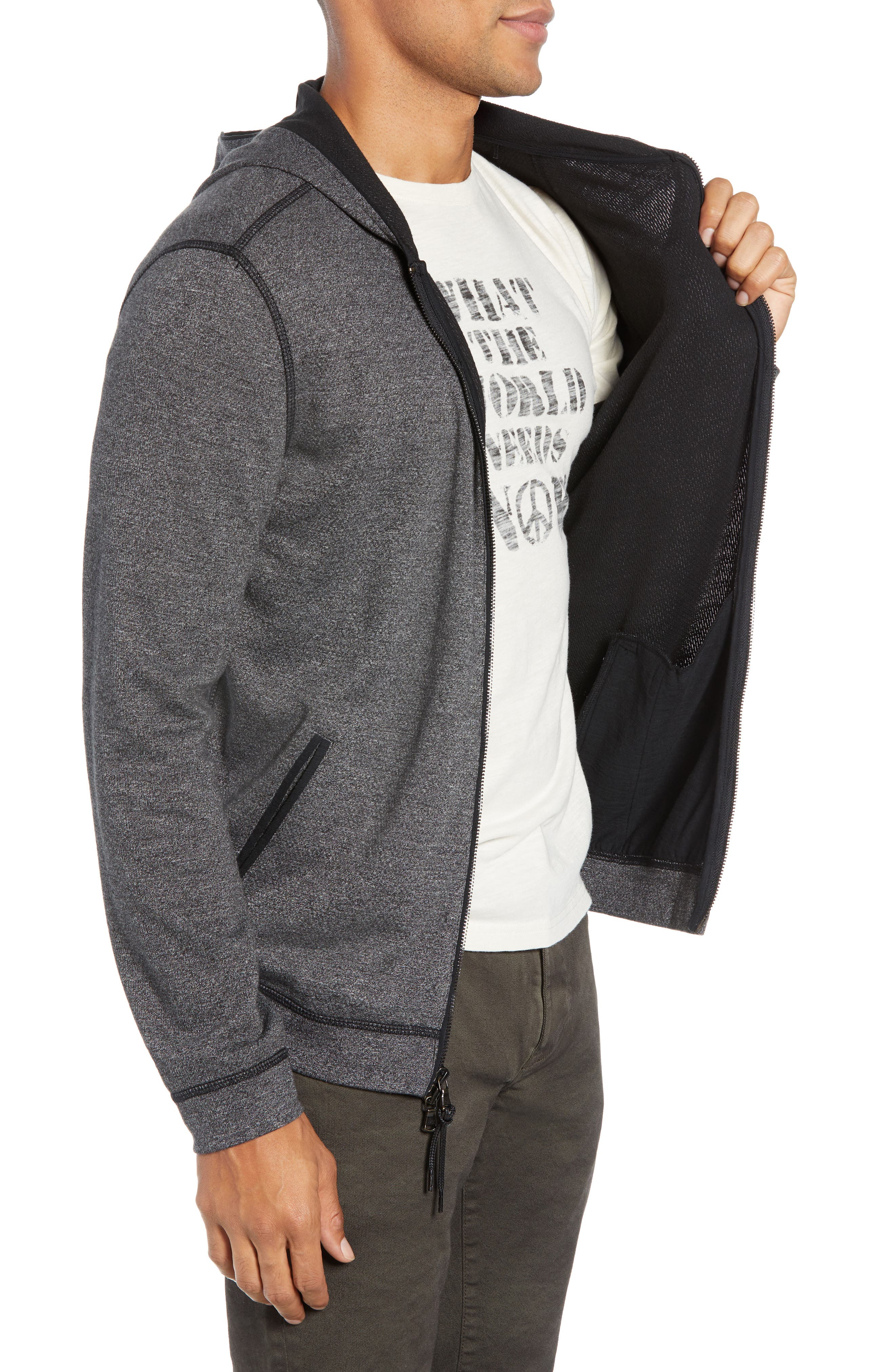 Doubleknit Zip Hoodie,                             Alternate thumbnail 3, color,                             CHARCOAL HEATHER