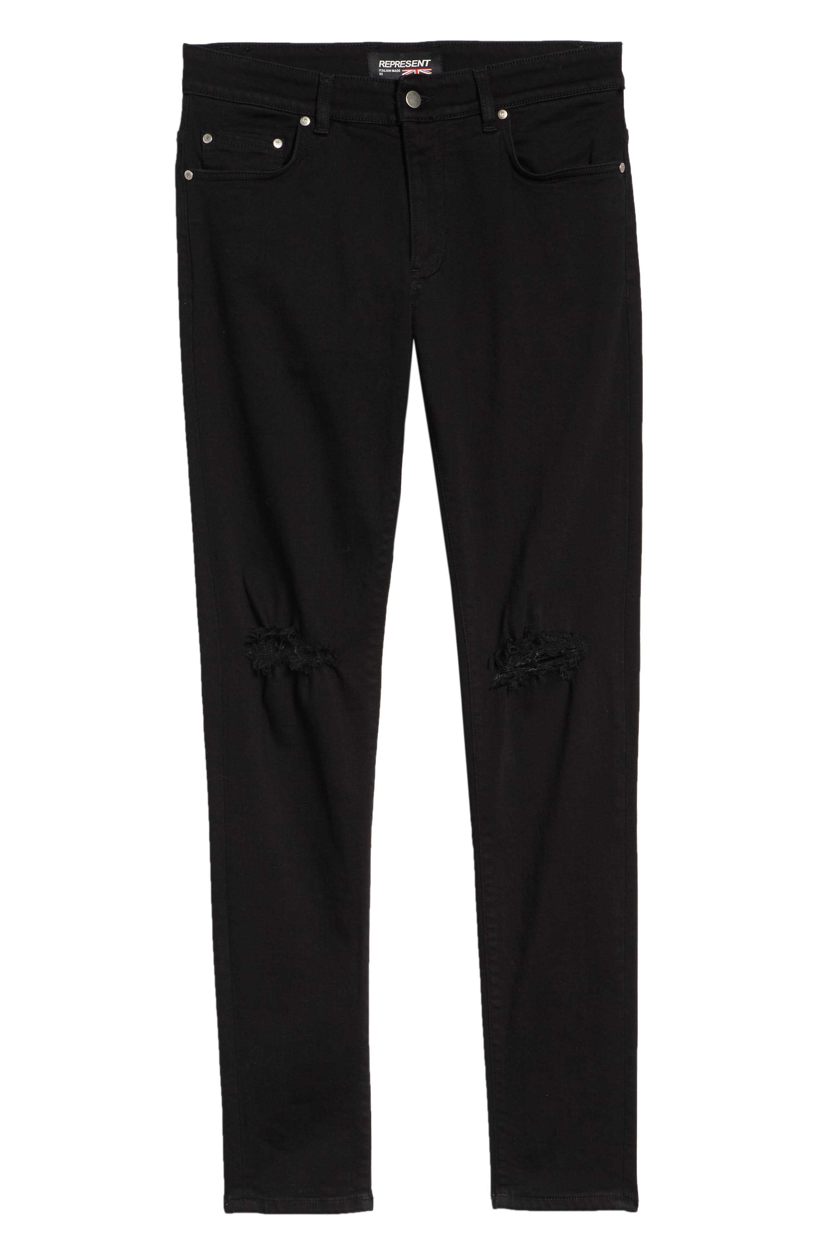 Destroyer Ripped Slim Fit Jeans,                             Alternate thumbnail 6, color,                             BLACK