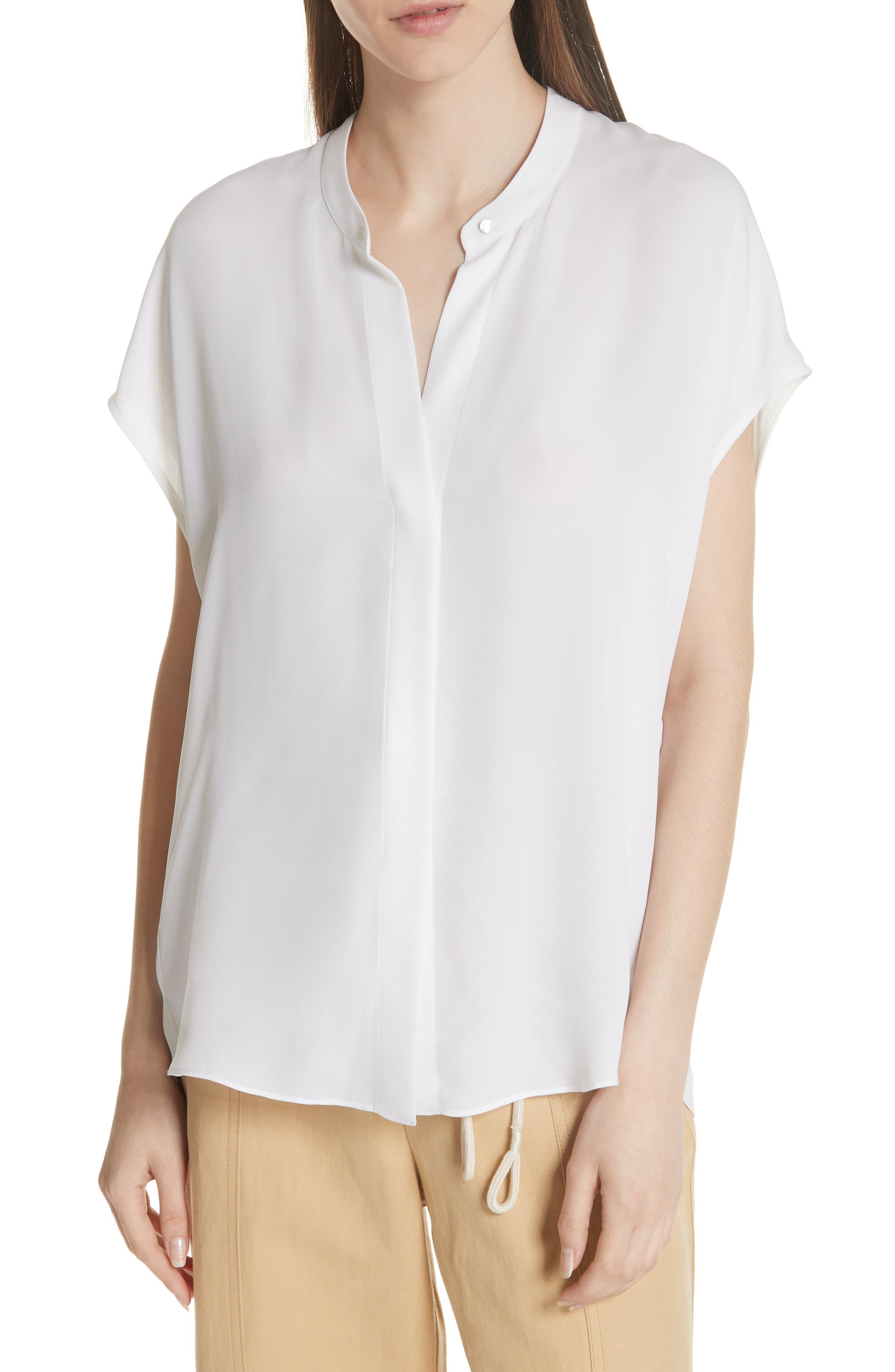 Back Slit Silk Top,                             Main thumbnail 1, color,                             OPTIC WHITE