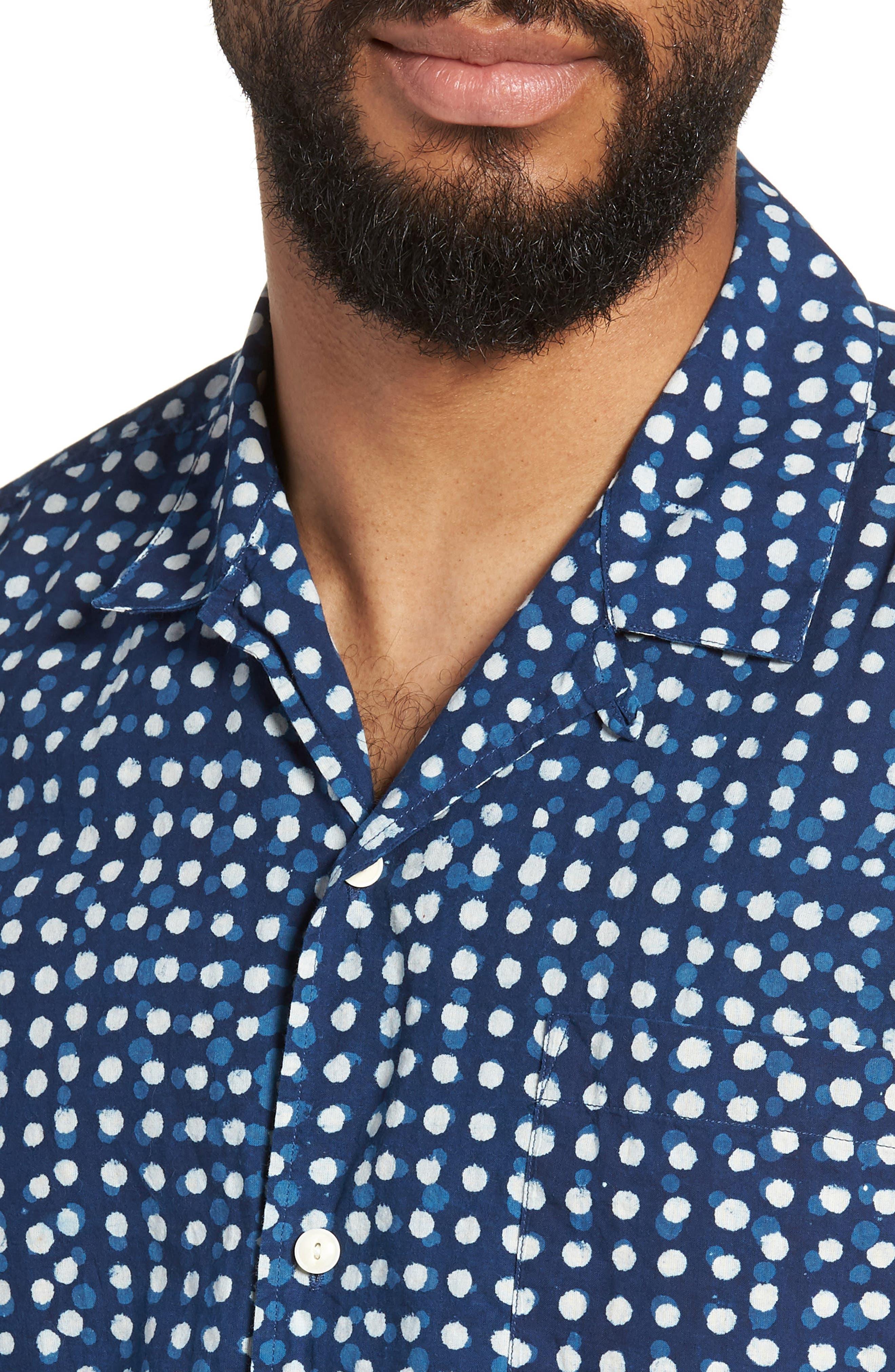 Malick Slim Fit Dot Sport Shirt,                             Alternate thumbnail 4, color,                             406