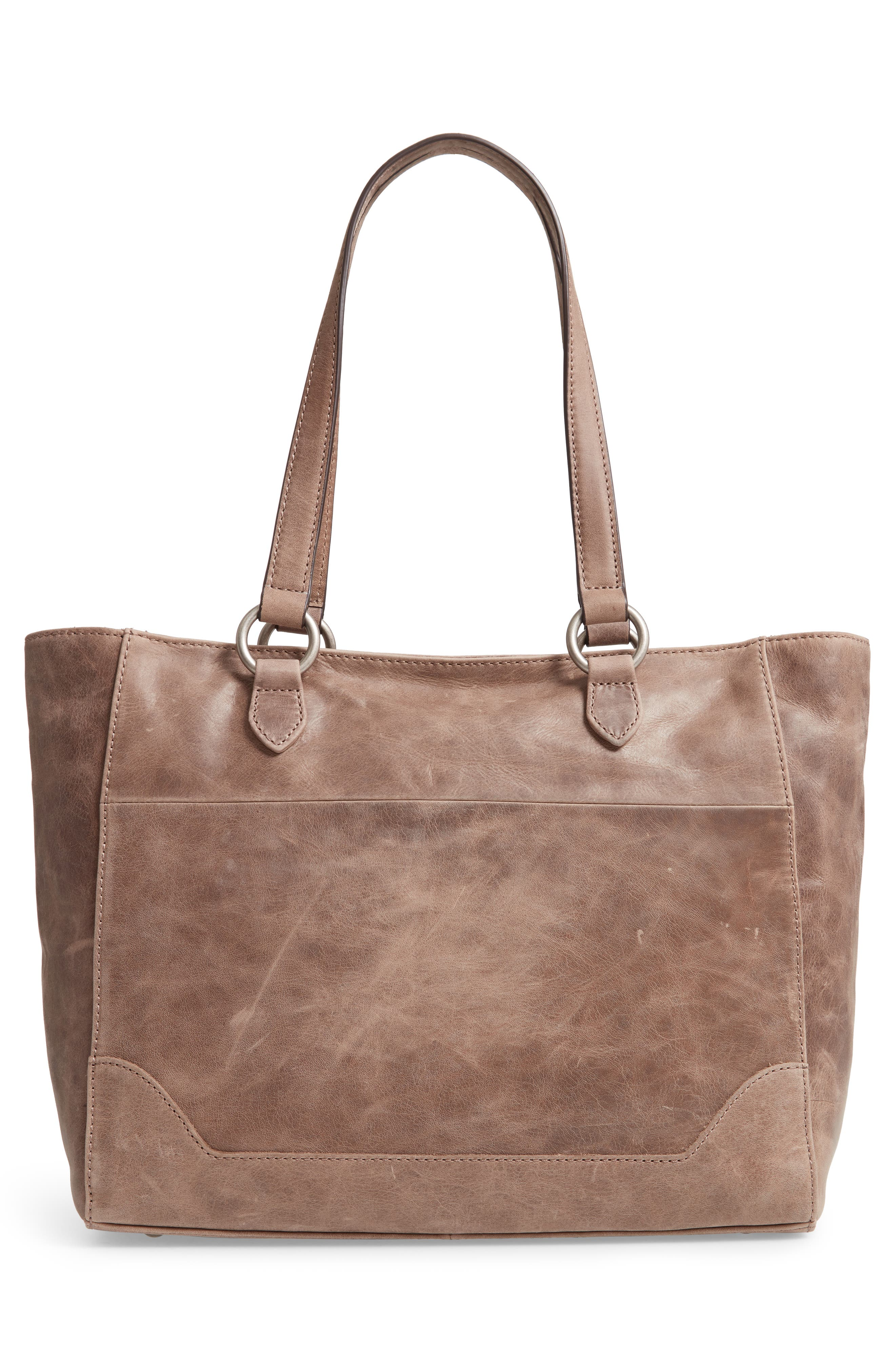Melissa Zip Leather Tote,                             Alternate thumbnail 3, color,                             GREY