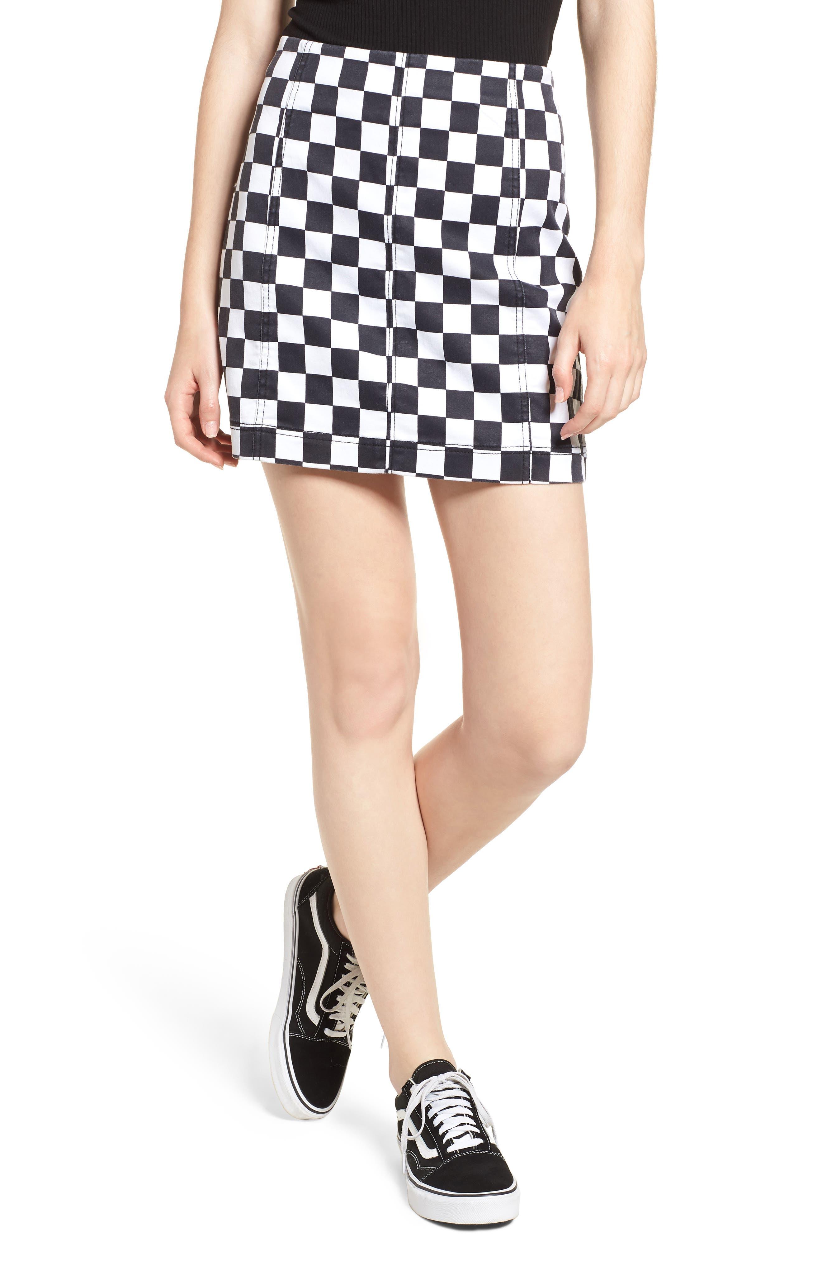 Checkered Denim Miniskirt,                             Main thumbnail 1, color,                             BLACK/ WHITE CHECKERED