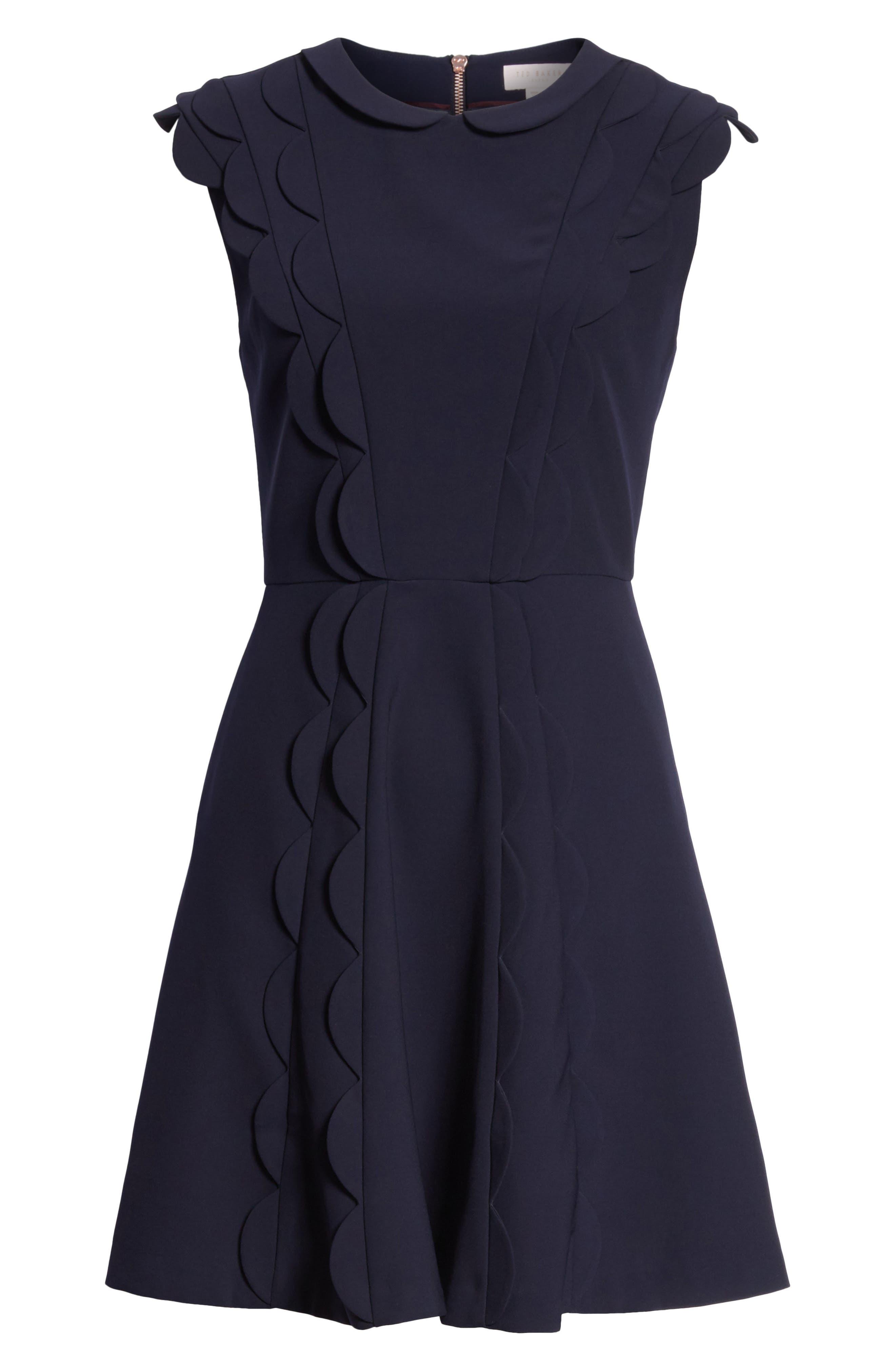 Scalloped Panel Fit & Flare Dress,                             Alternate thumbnail 6, color,                             402
