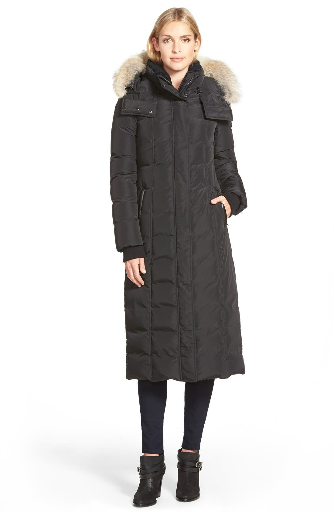 Mackage Long Down Coat With Genuine Coyote Fur & Shearling Trim