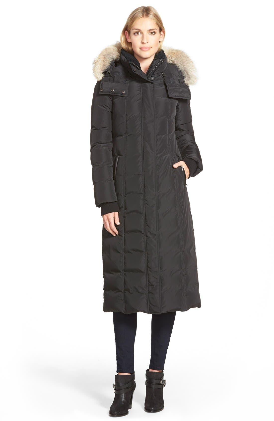 Mackage Long Down Coat With Genuine Coyote Fur & Shearling Trim, Black