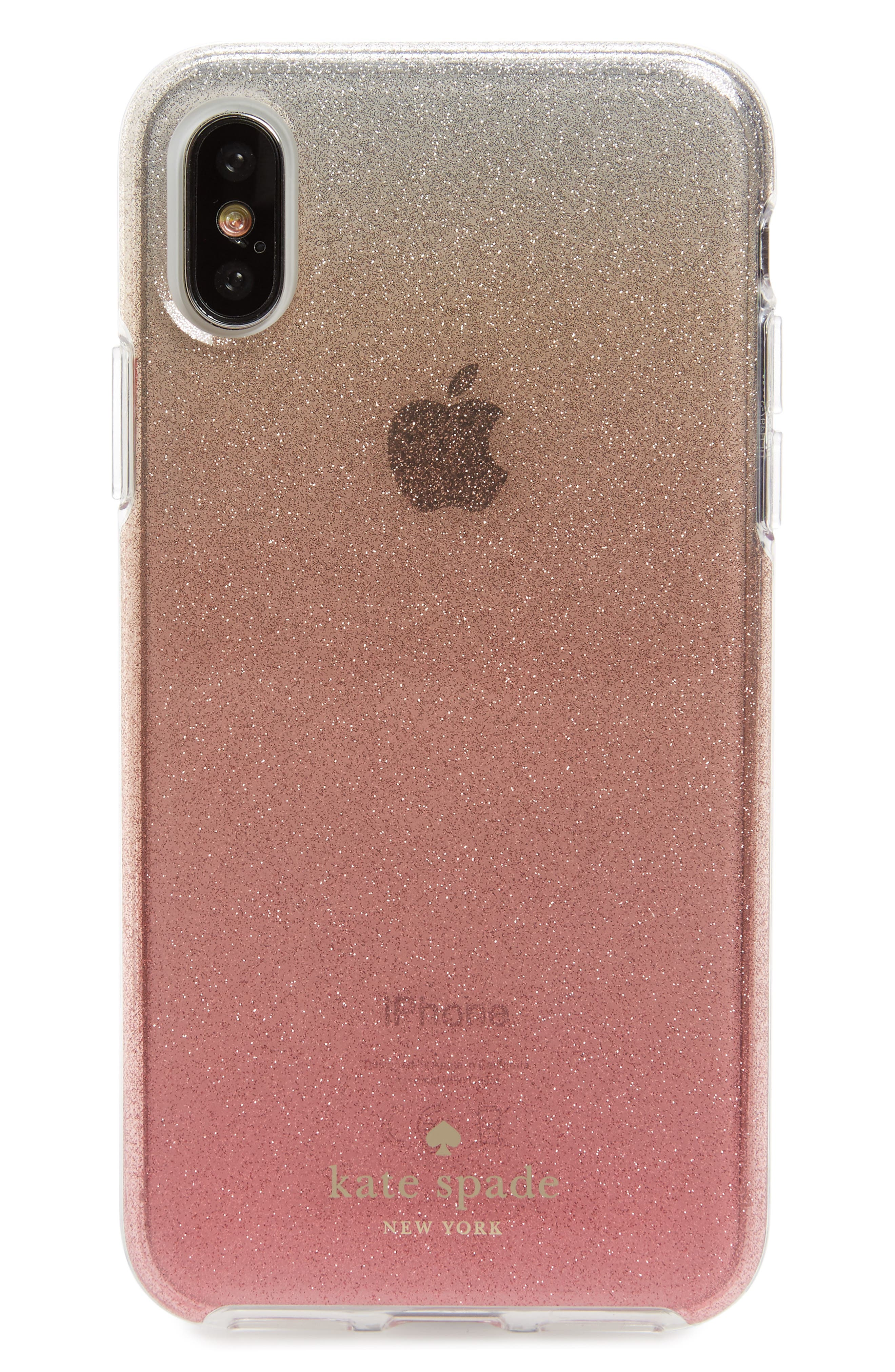ombré glitter iPhone X/Xs case,                             Main thumbnail 1, color,                             PINK GLITTER