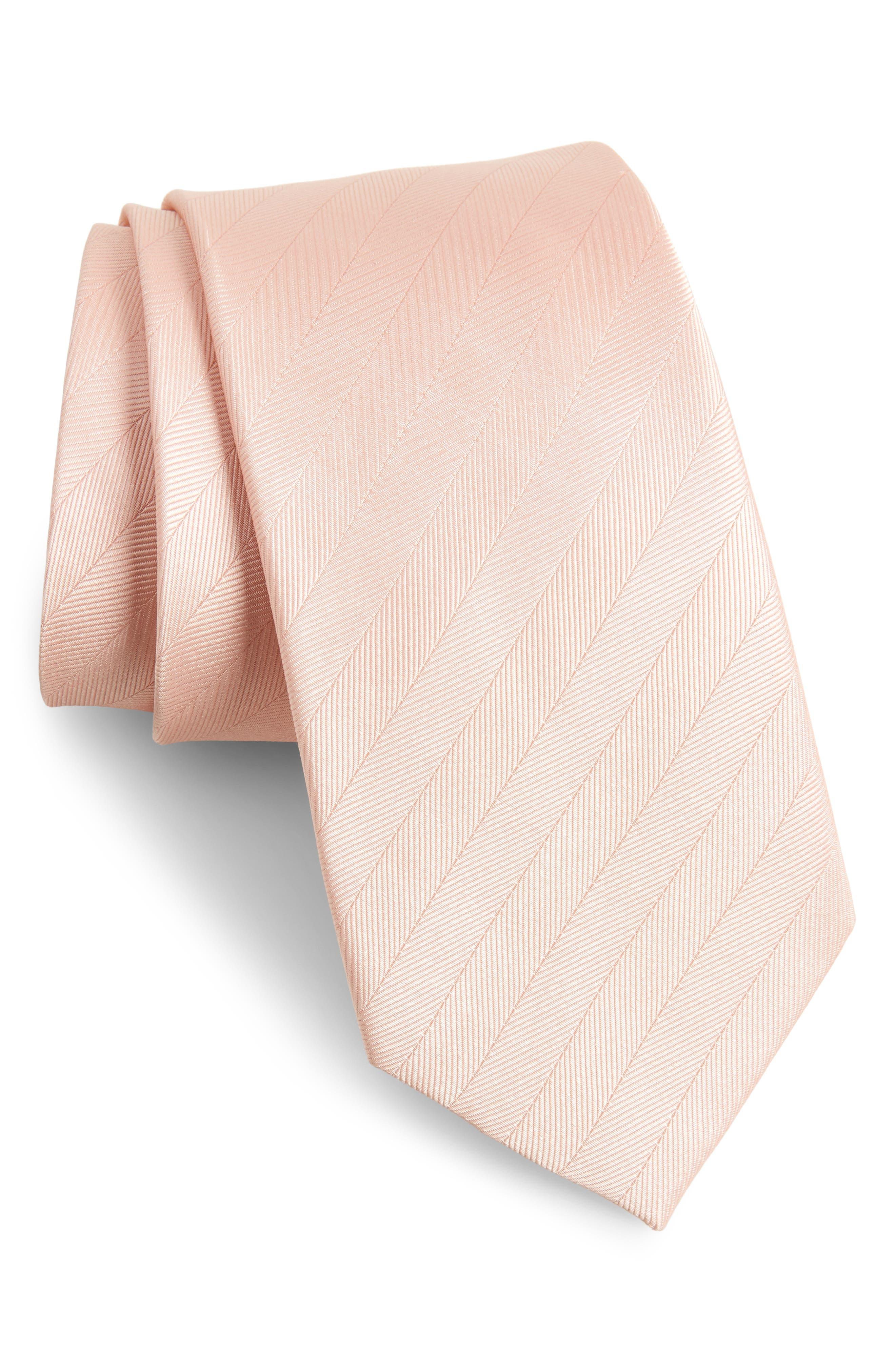 Herringbone Silk Tie,                         Main,                         color, BLUSH PINK