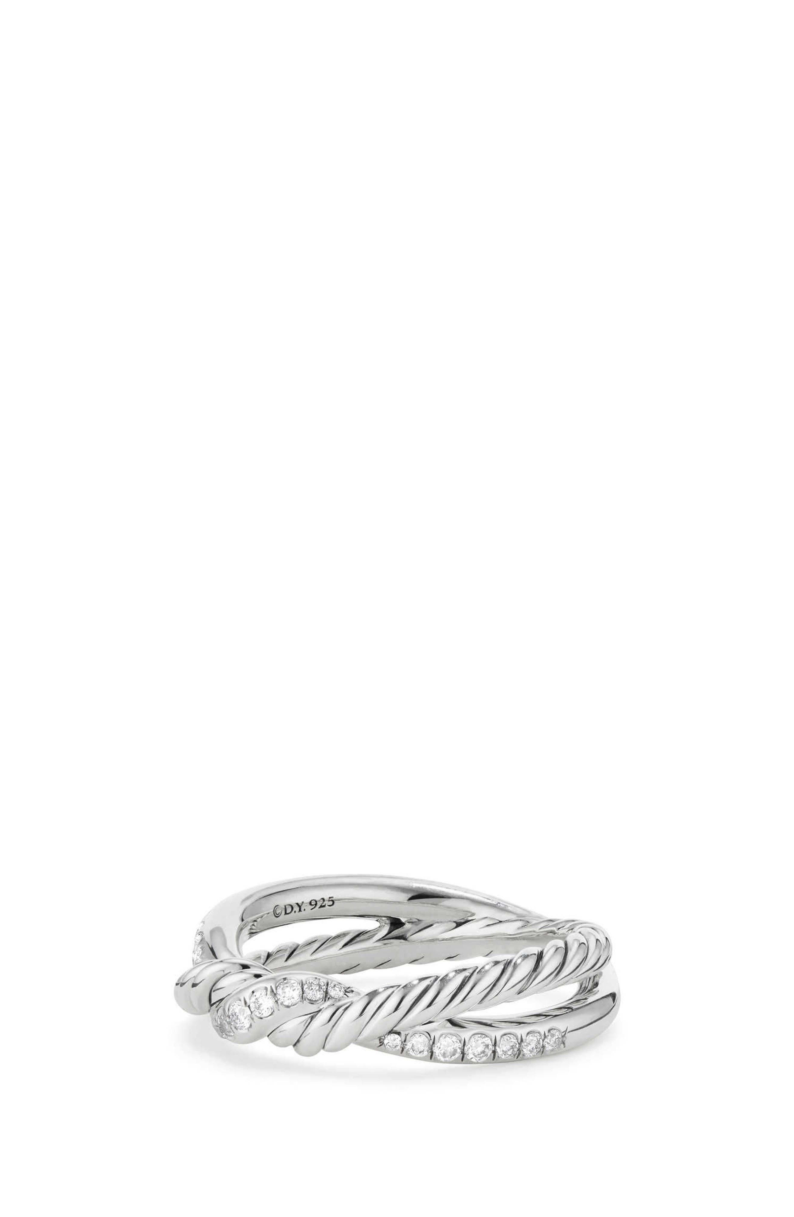 Continuance Twist Ring with Diamonds,                             Alternate thumbnail 2, color,                             SILVER/ DIAMOND