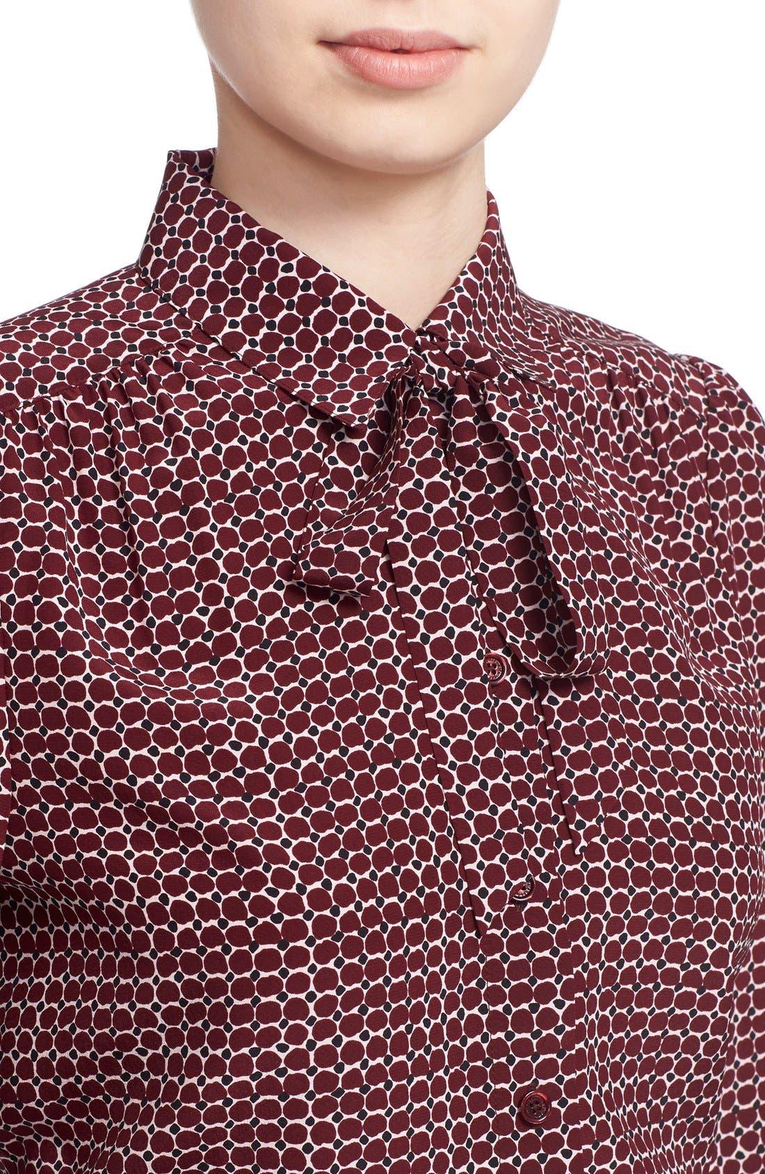 'parker dot' print silk bow blouse,                             Alternate thumbnail 5, color,                             619