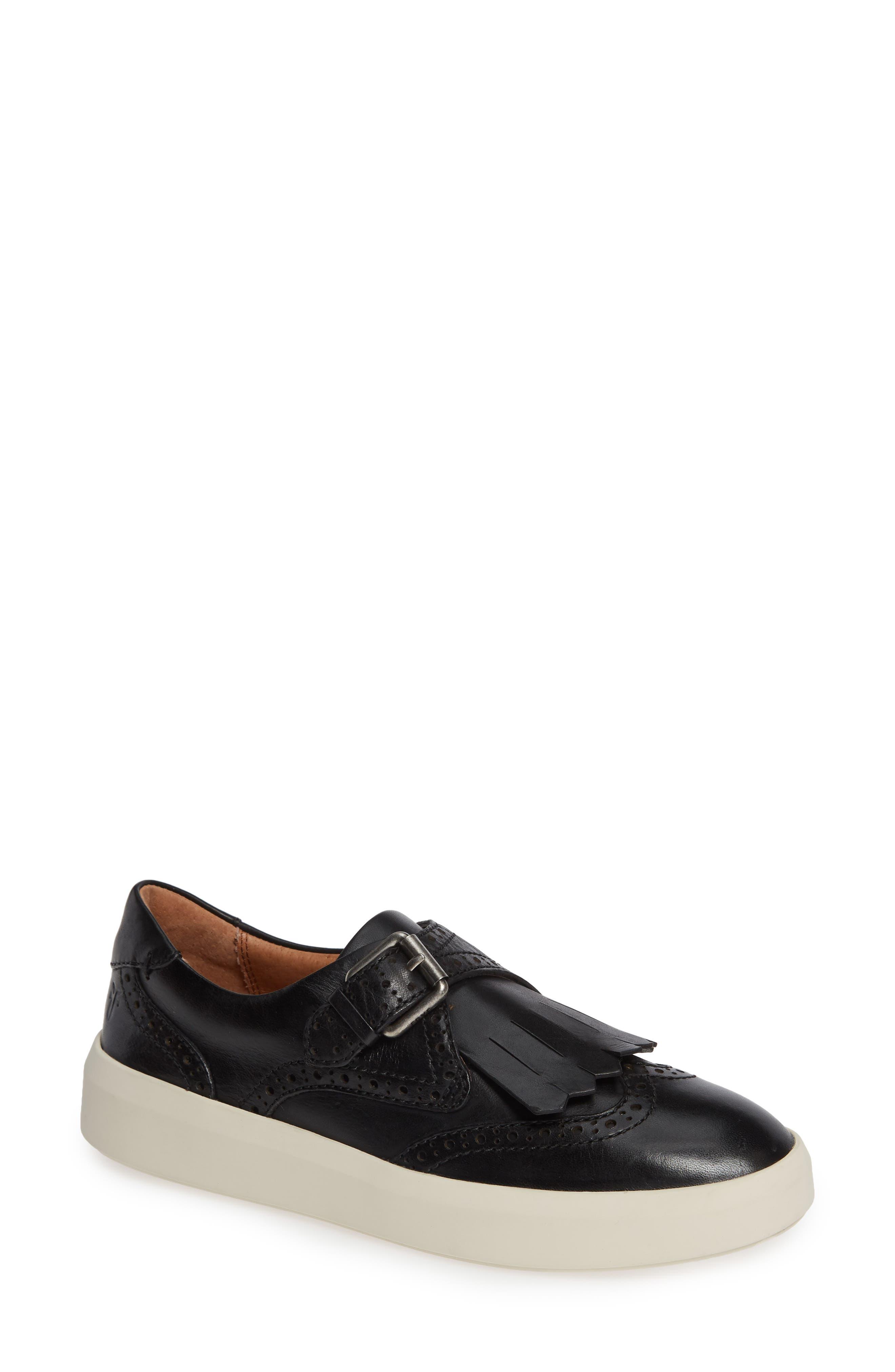 Brea Leather Wing-Tip Kiltie Skate Sneakers in Black Leather