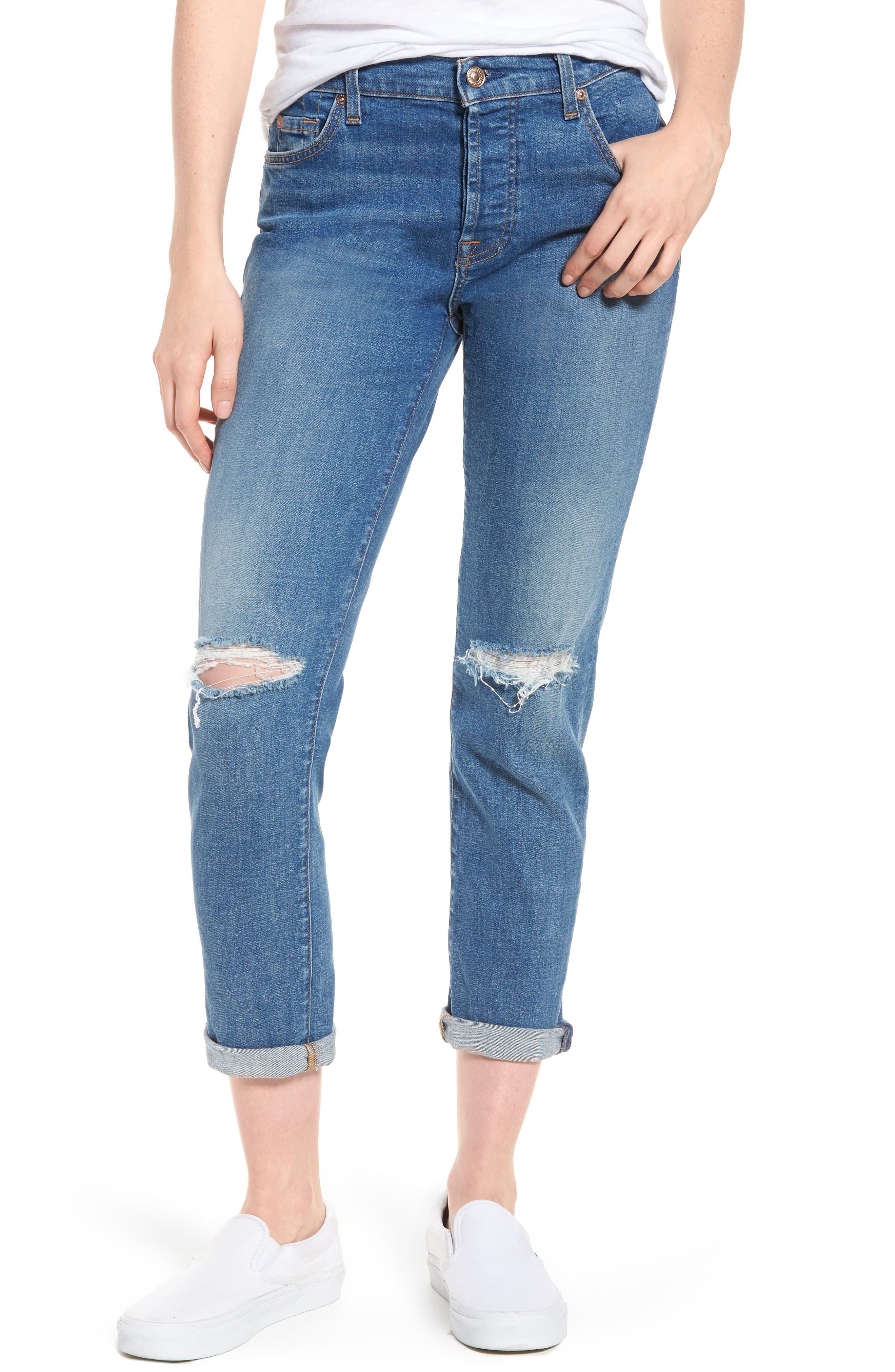 Josefina Ripped Boyfriend Jeans,                             Main thumbnail 1, color,                             400