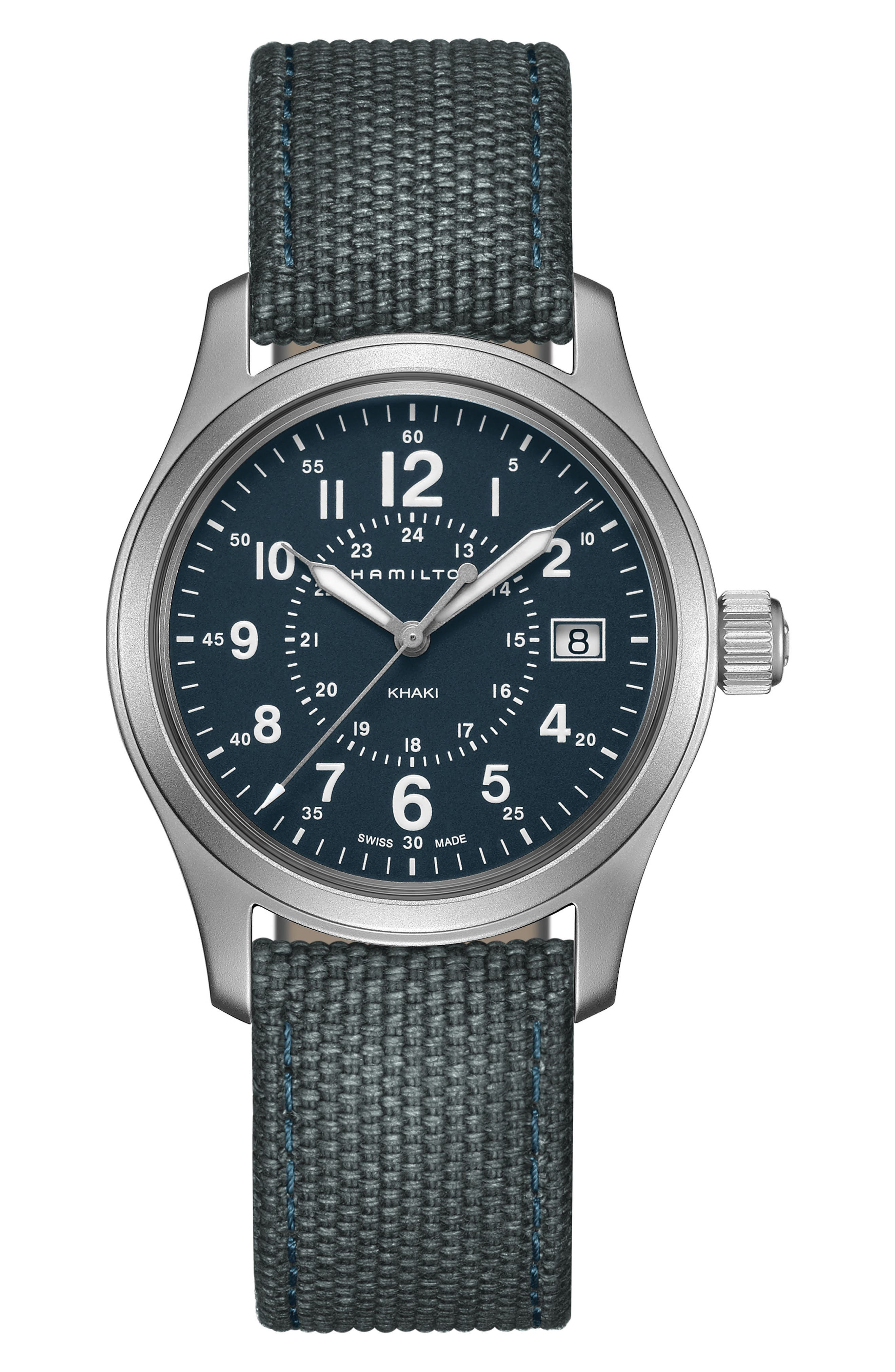 Khaki Field Canvas Strap Watch, 38mm,                         Main,                         color, BLUE/ SILVER