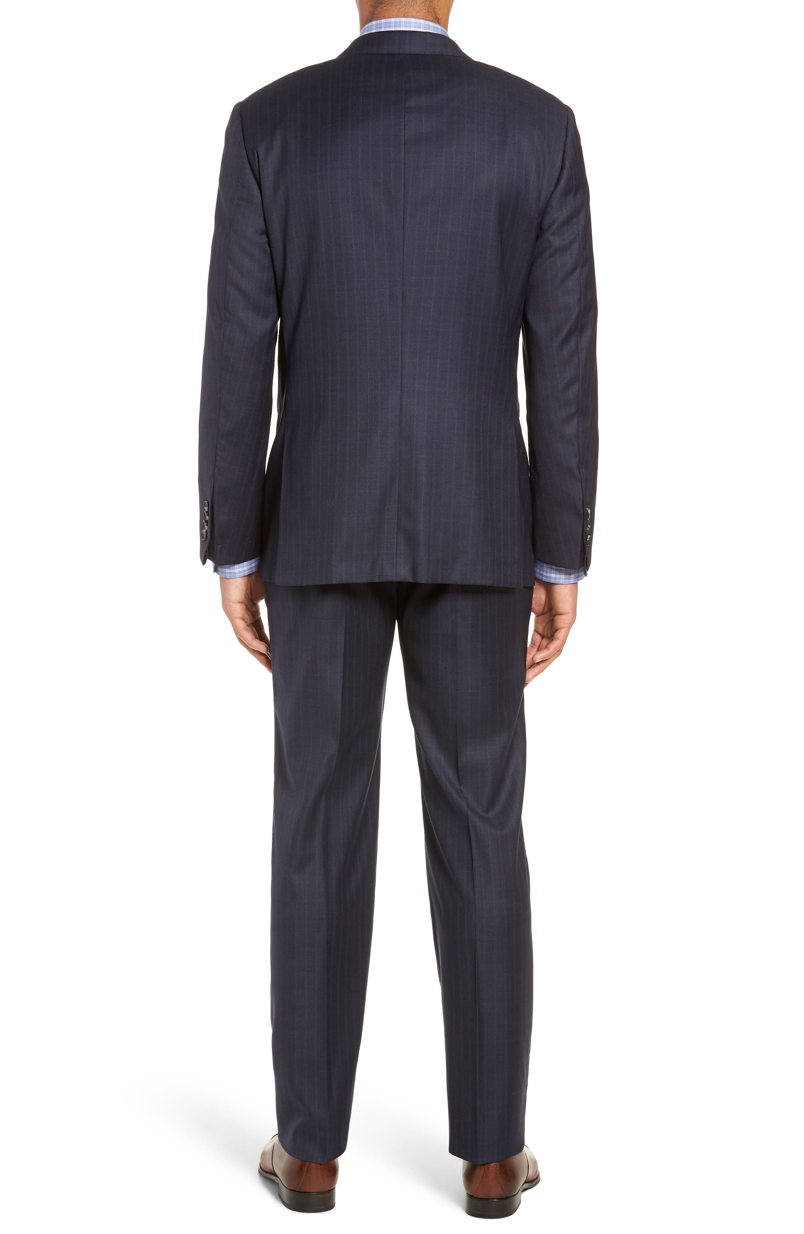 Classic Fit Stripe Wool Suit,                             Alternate thumbnail 2, color,                             DARK BLUE