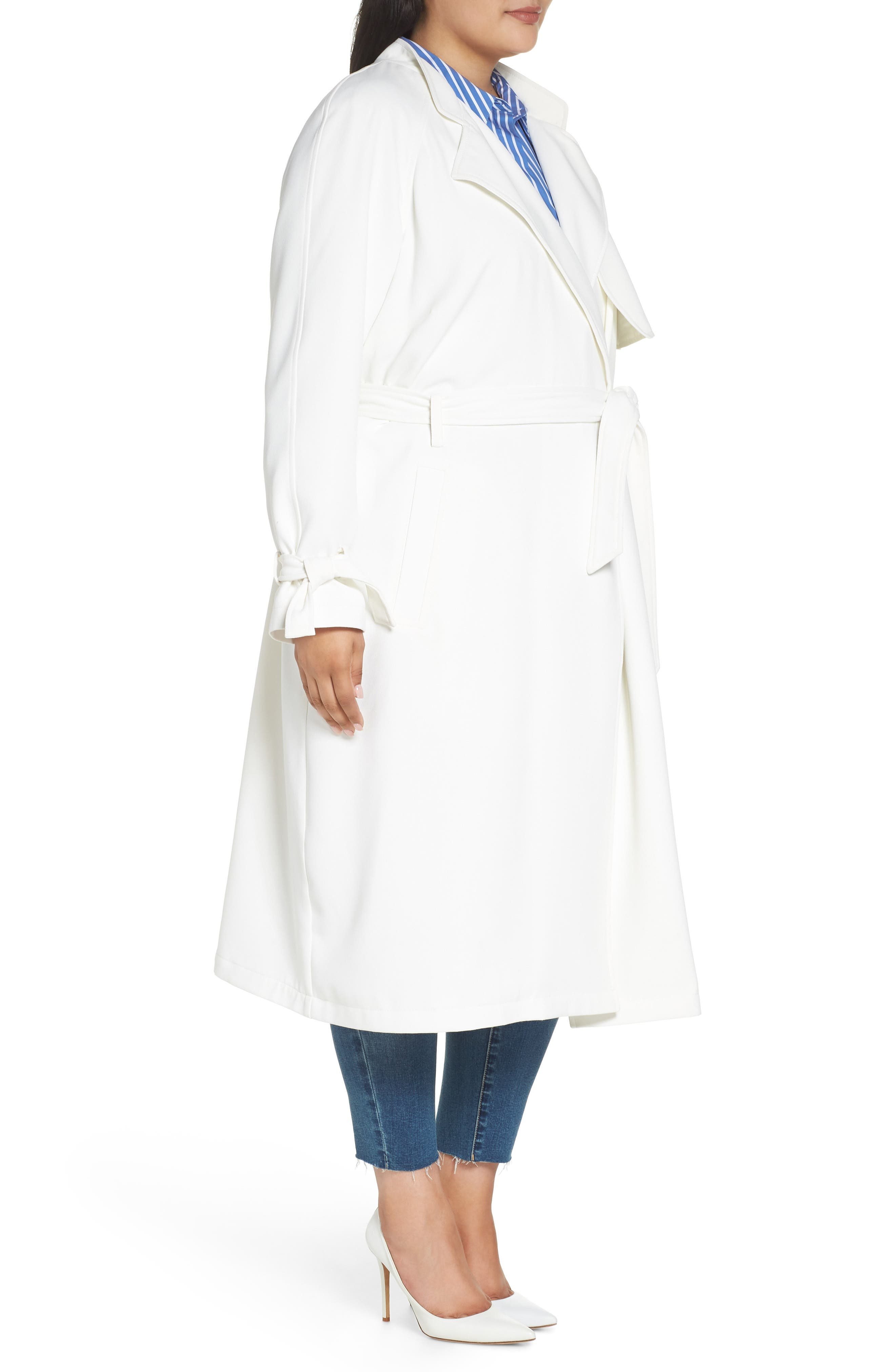 Crepe Trench Coat,                             Alternate thumbnail 3, color,                             WHITE