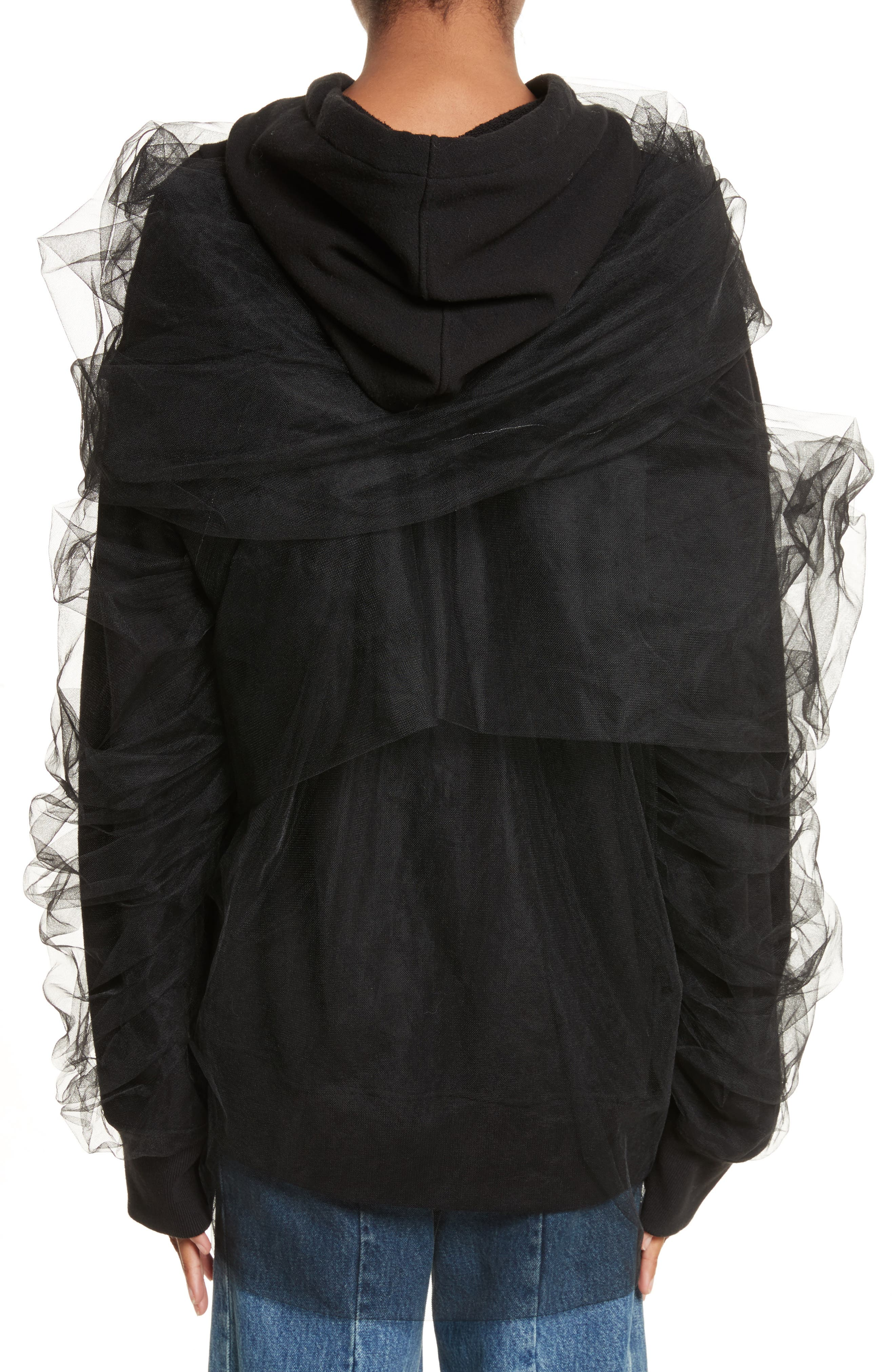 Tulle Wrapped Hoodie,                             Alternate thumbnail 2, color,                             001