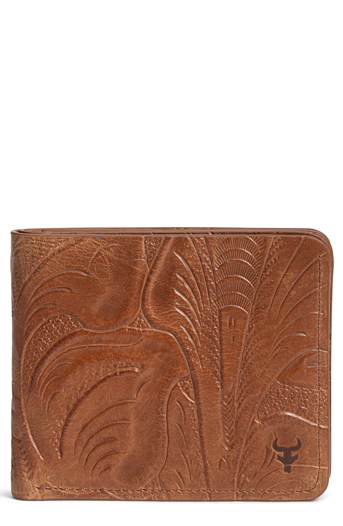 'Jackson' Slimfold Italian Steer Leather Wallet,                             Main thumbnail 1, color,                             TAN