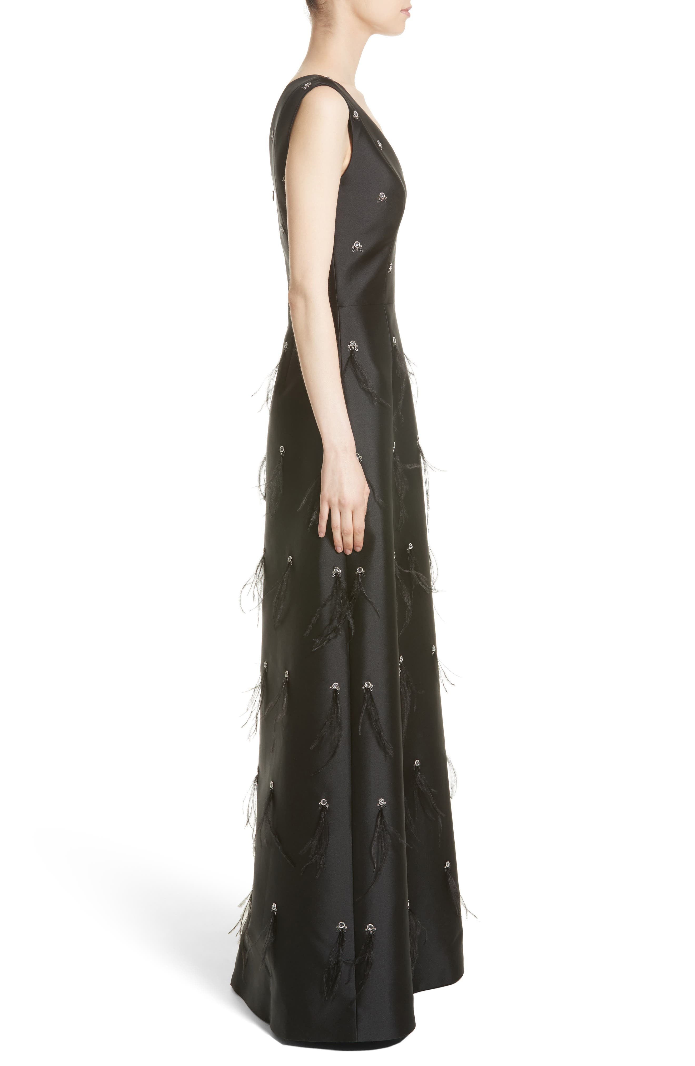 St. John Collection Hand Beaded Mikado Gown,                             Alternate thumbnail 3, color,                             001