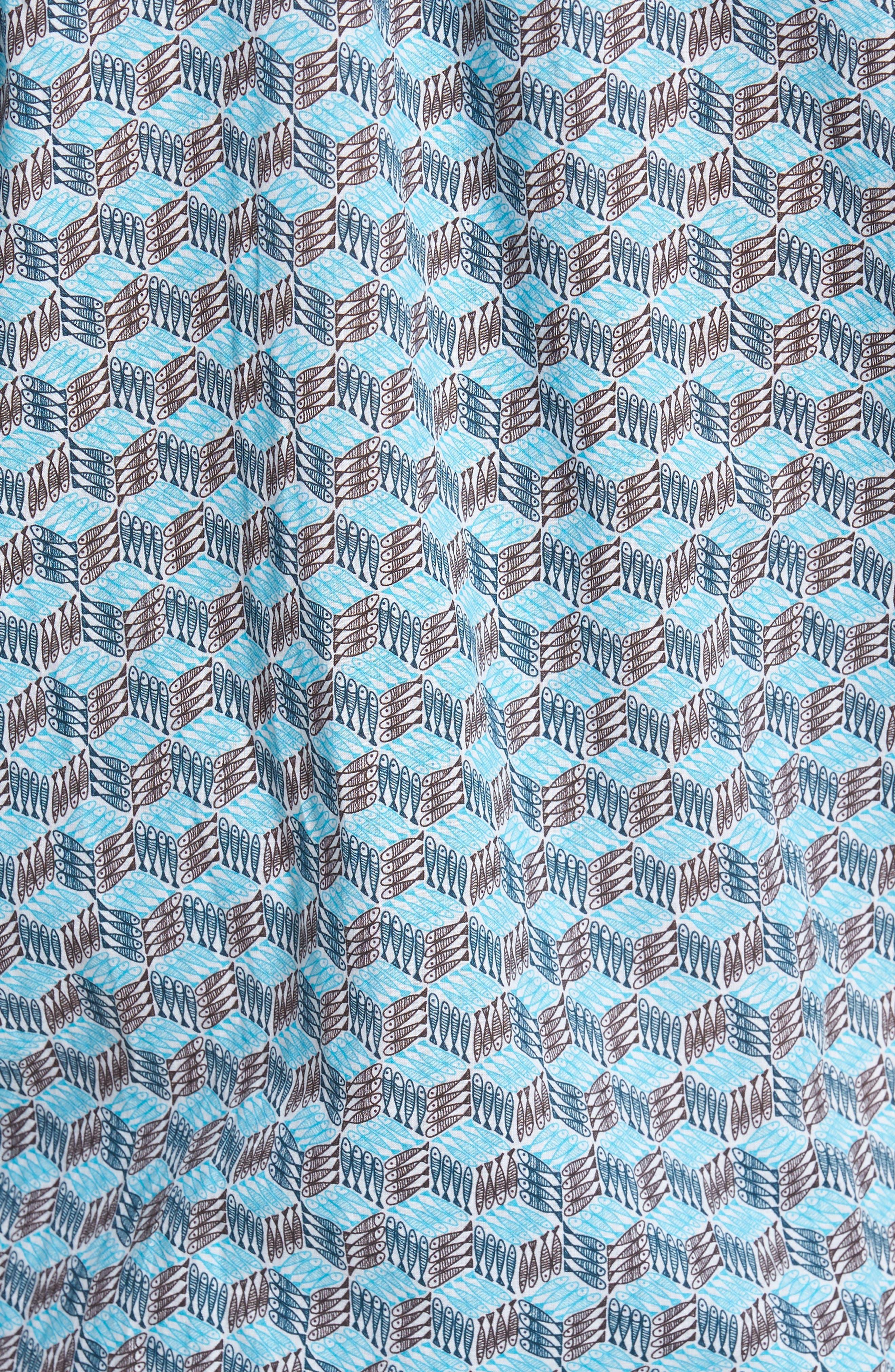 Cubed Fish Cotton Voile Sport Shirt,                             Alternate thumbnail 5, color,                             AZURE