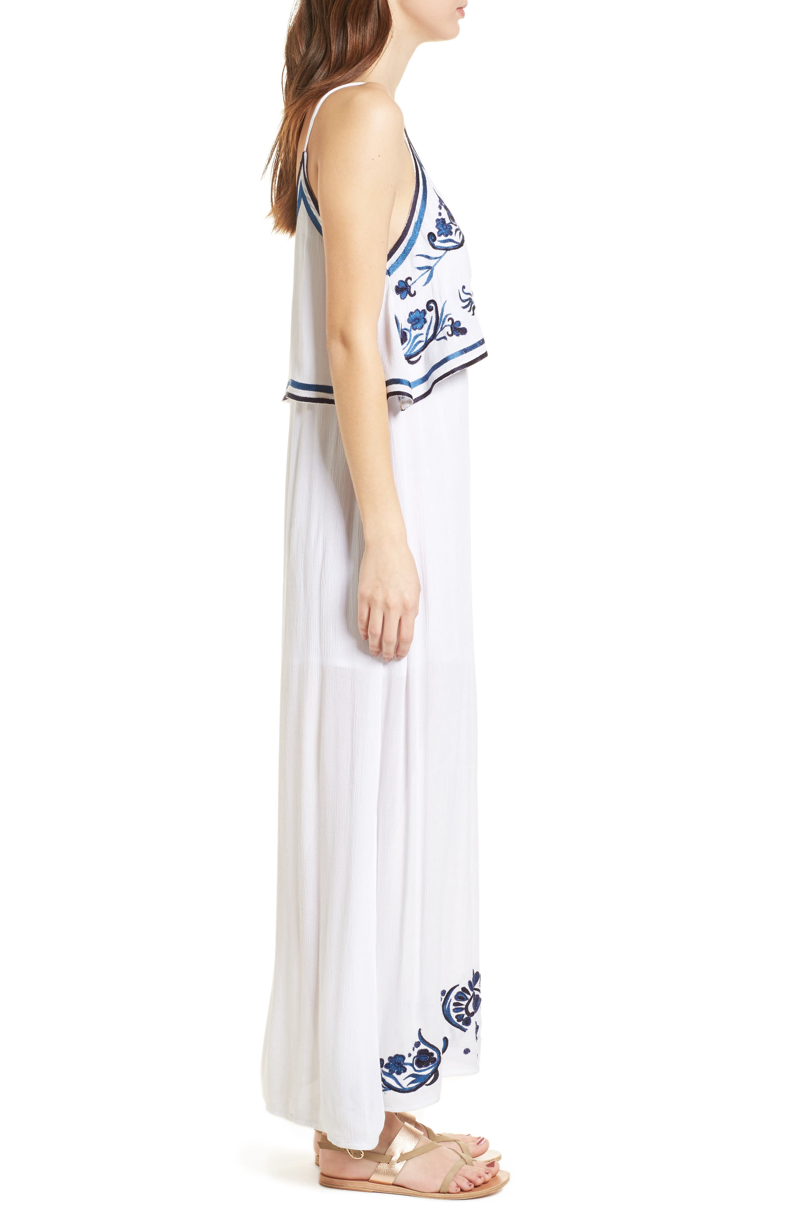 Mediterranean Embroidered Maxi Dress,                             Alternate thumbnail 3, color,                             100