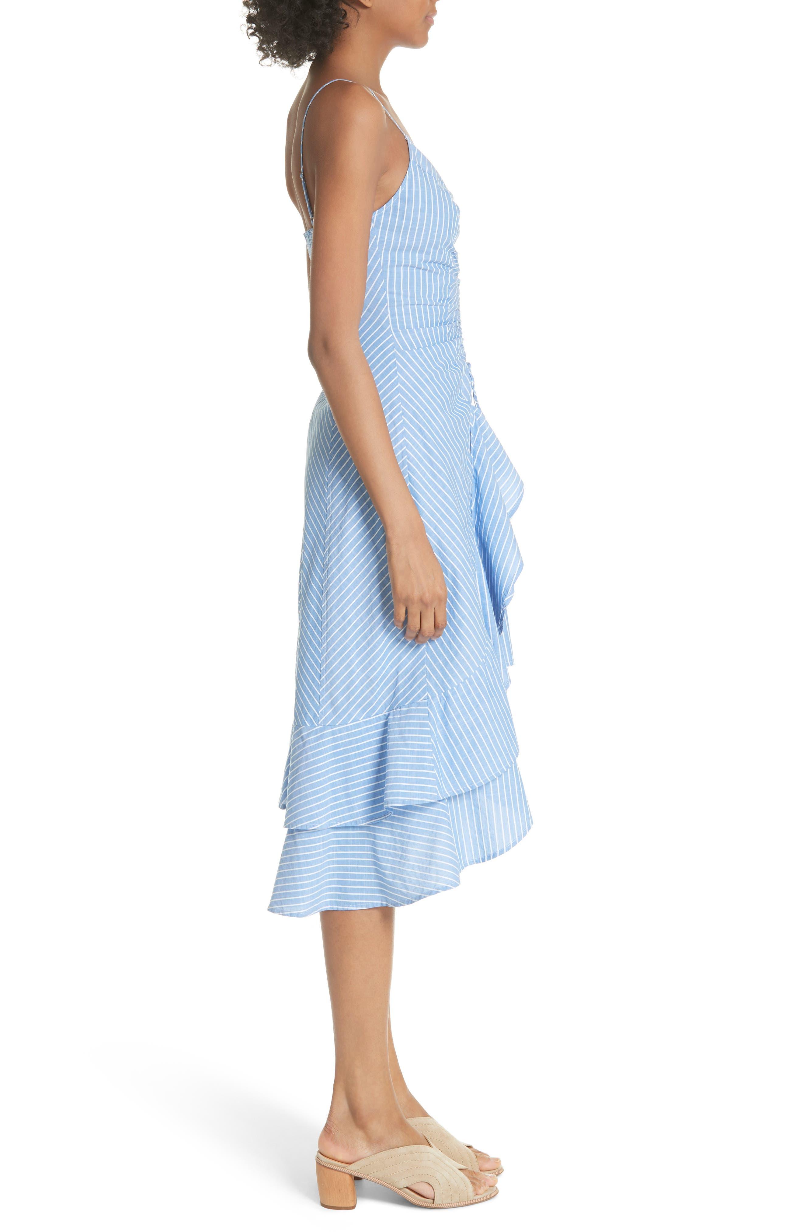 Eberta Stripe High/Low Dress,                             Alternate thumbnail 3, color,                             FRENCH CHAMBRAY