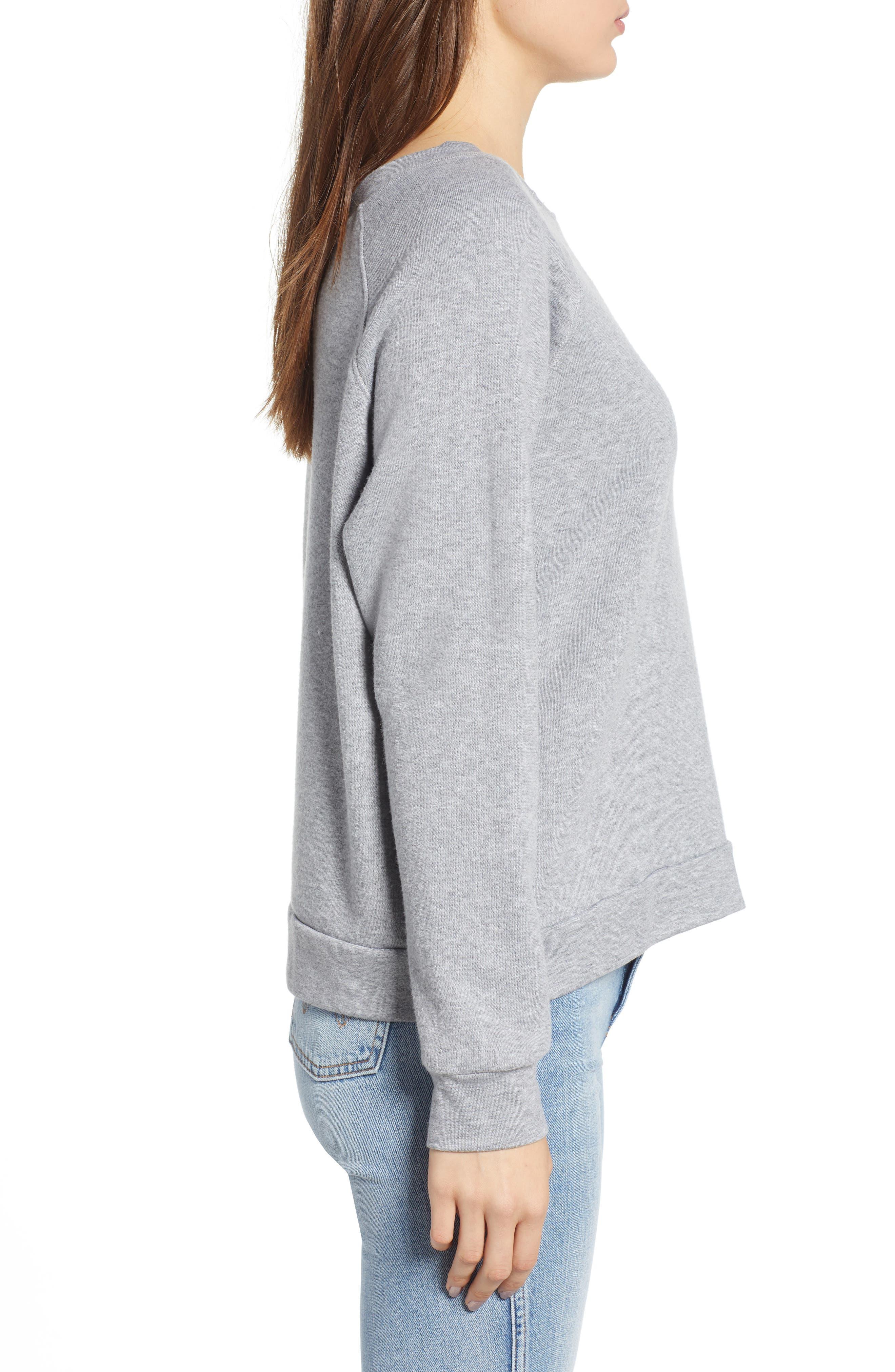 Reversible Graphic Sweatshirt,                             Alternate thumbnail 4, color,                             HEATHER GREY