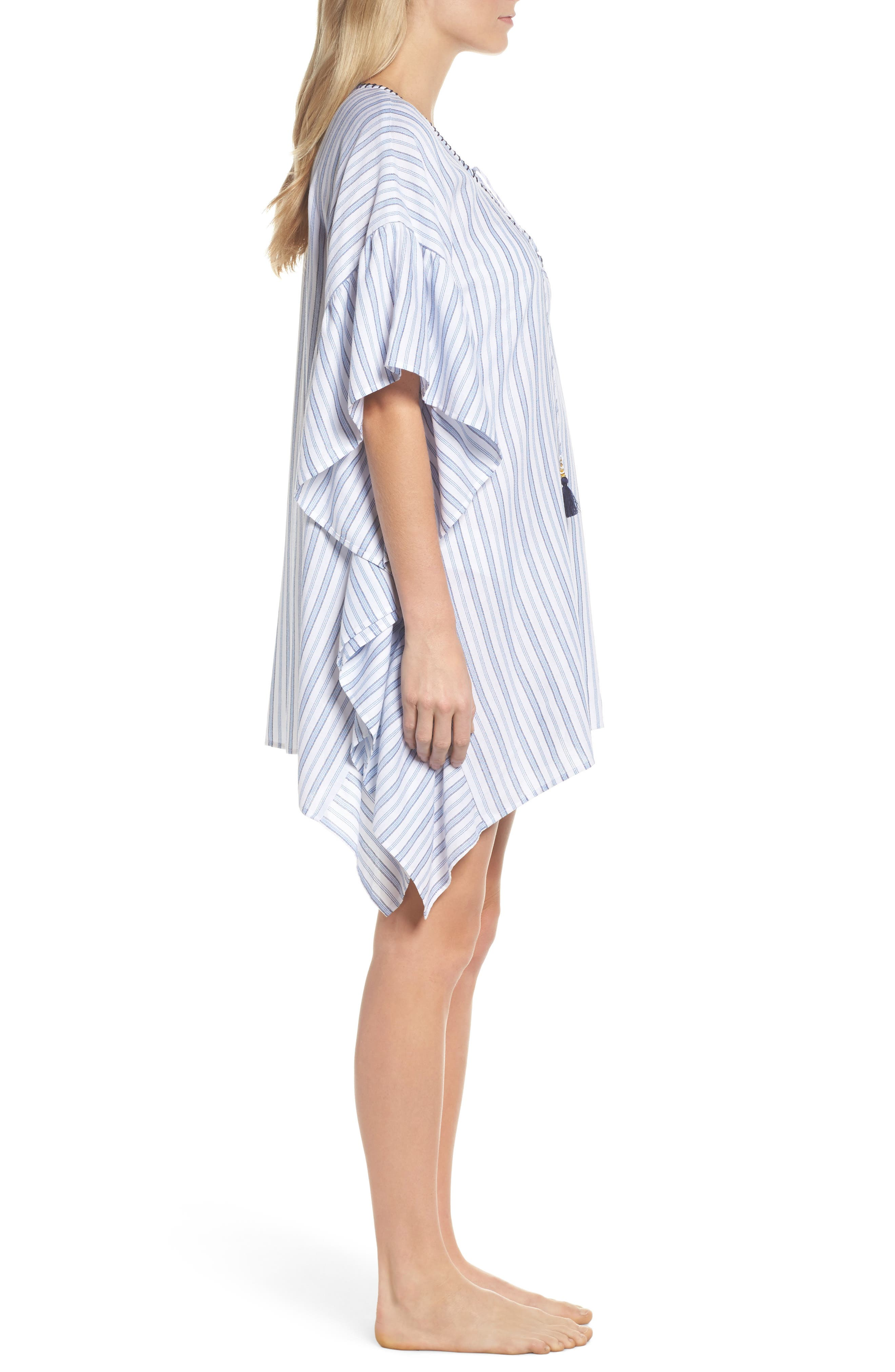 Ticking Stripe Cover-Up Tunic,                             Alternate thumbnail 3, color,                             WHITE
