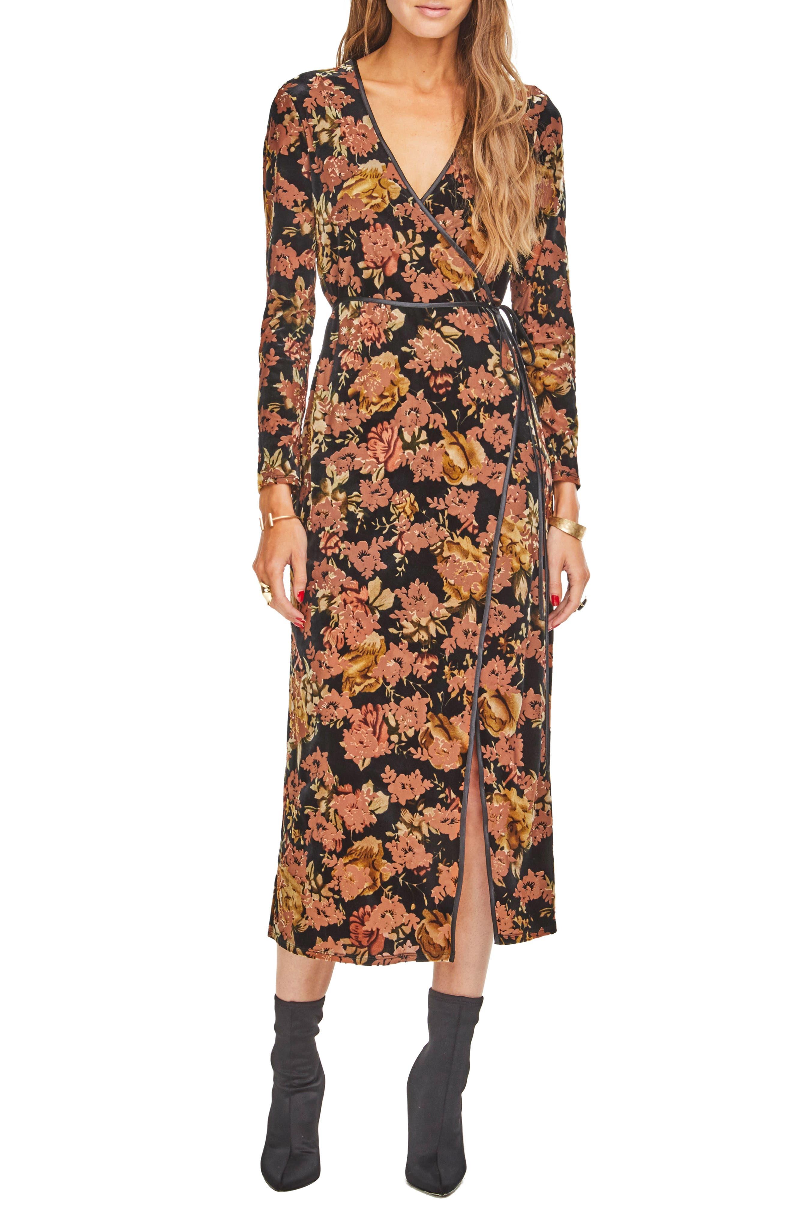Milena Midi Dress,                         Main,                         color, BLACK RUST FLORAL