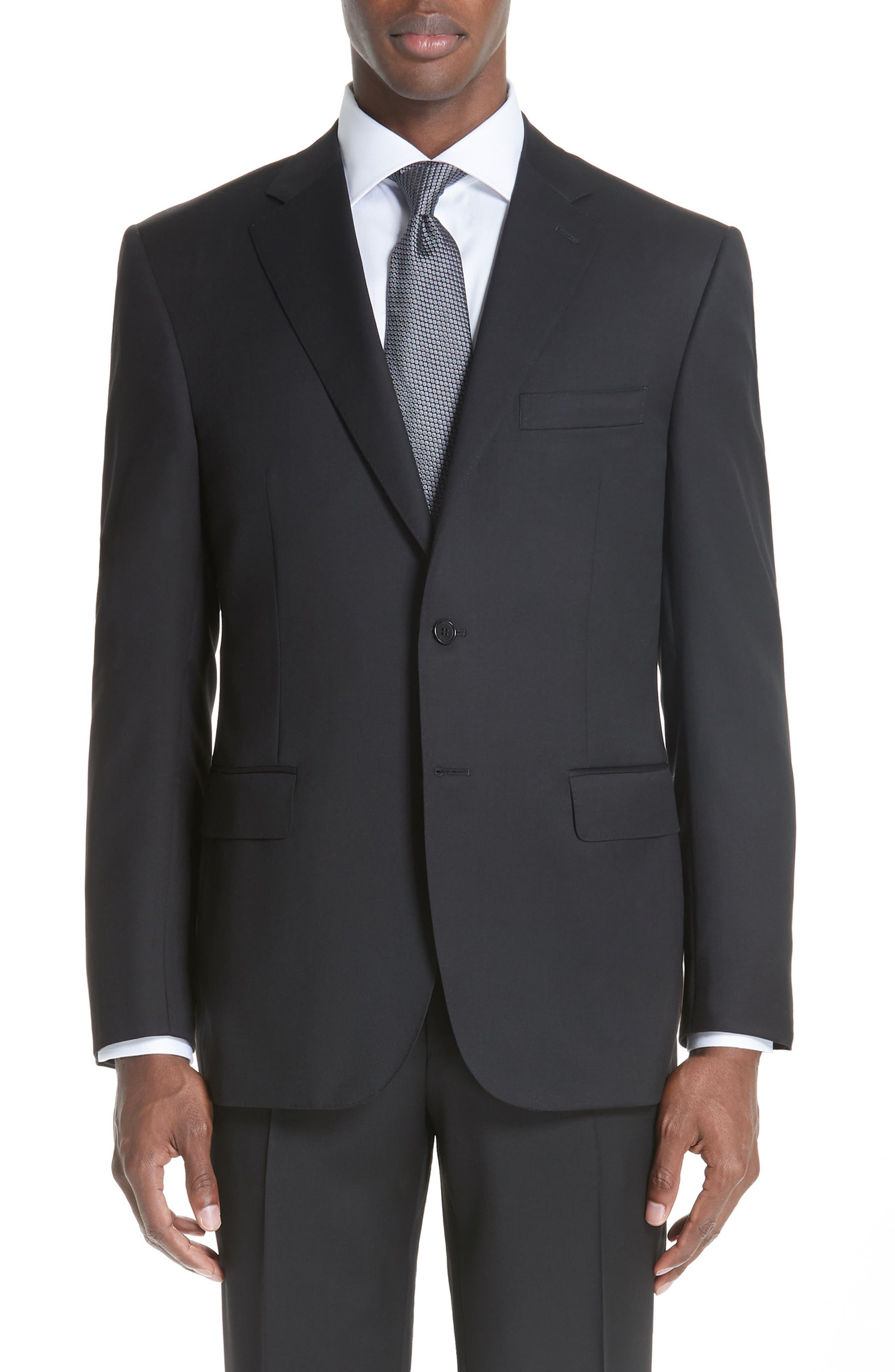Classic Fit Solid Wool Suit,                             Alternate thumbnail 5, color,                             BLACK