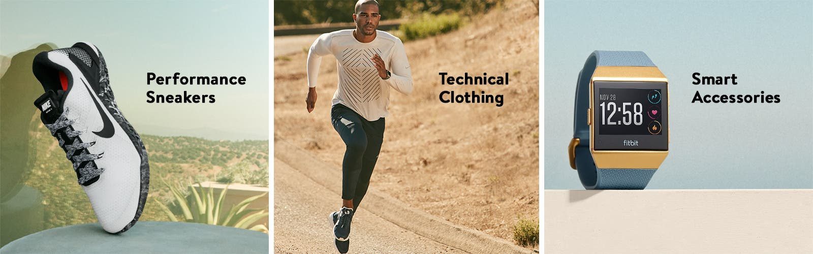 Performance sneakers, technical clothing and smart accessories.