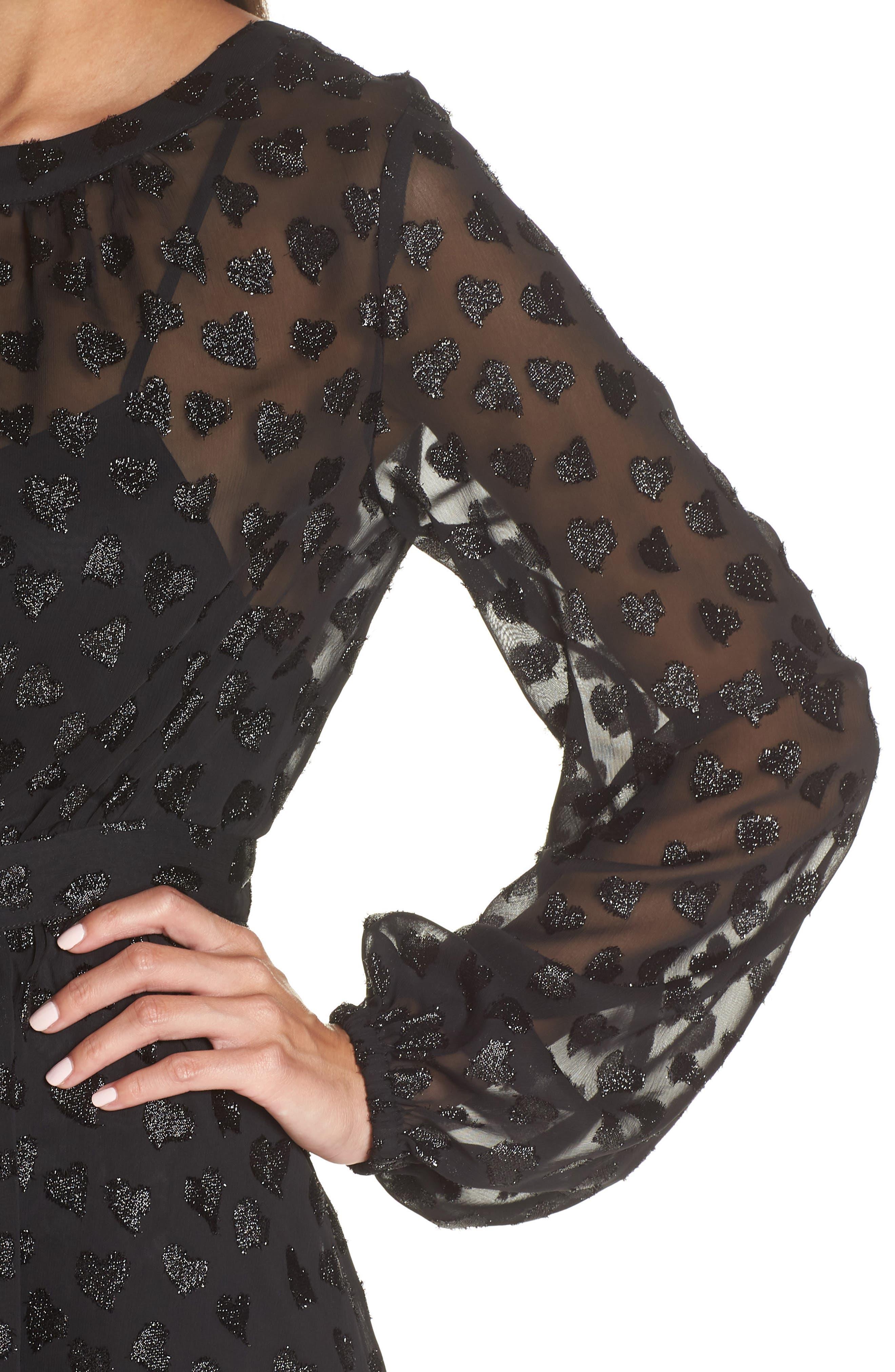 AVEC LES FILLES,                             Tea Length Metallic Mesh Dress,                             Alternate thumbnail 5, color,                             001