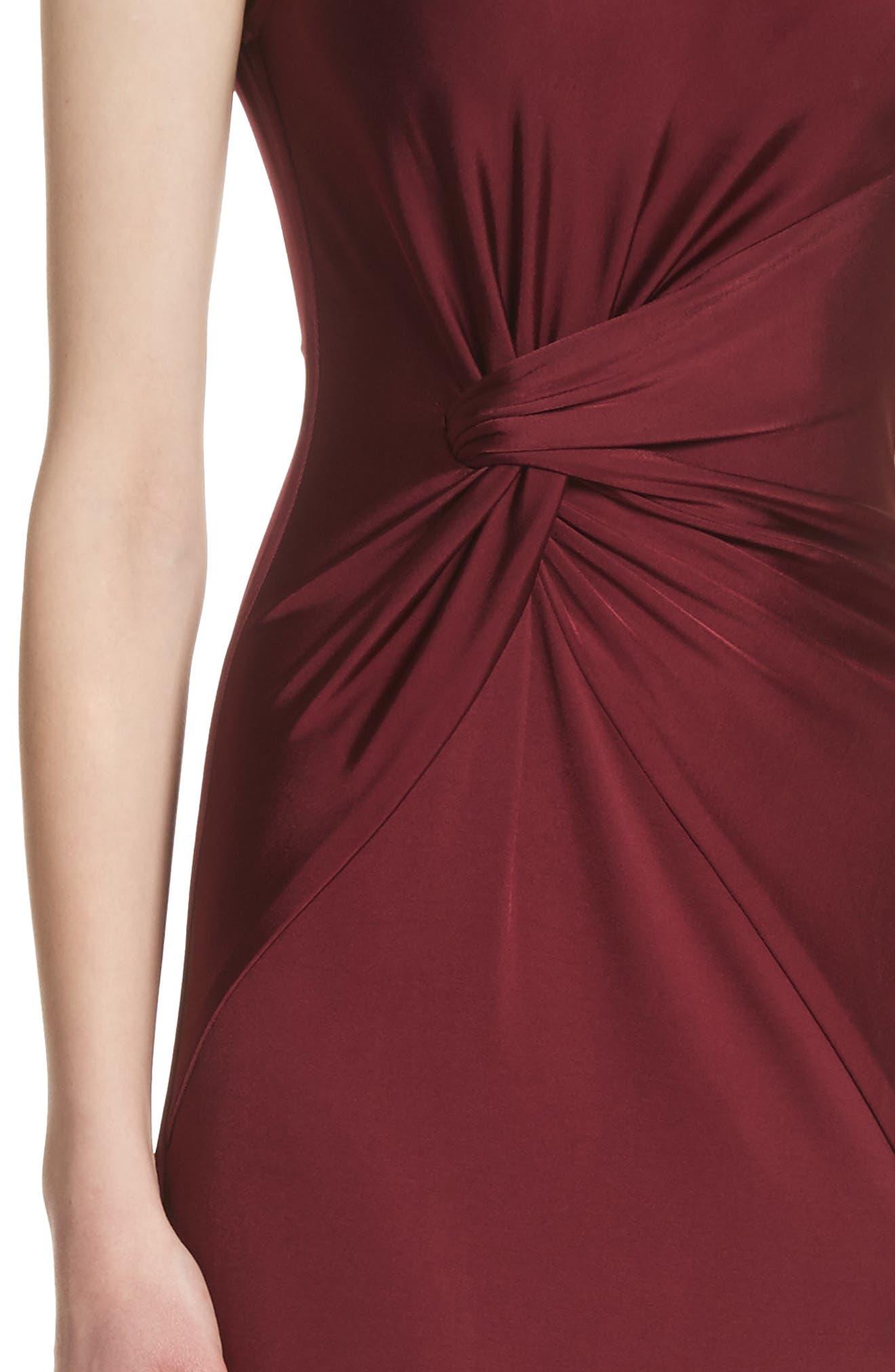 One-Shoulder Twist Gown,                             Alternate thumbnail 4, color,                             AUBURN