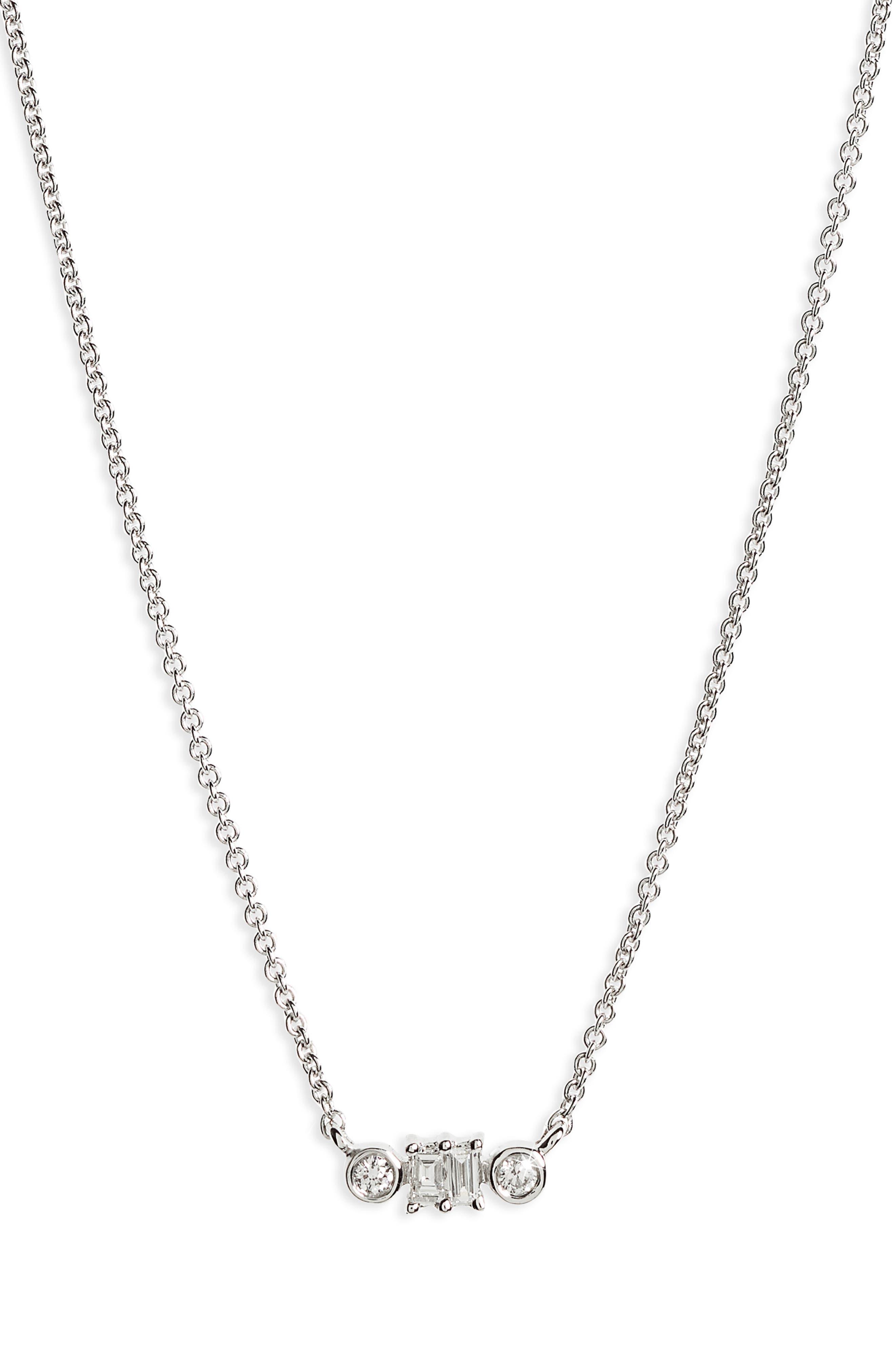 Dana Rebecca Sadie Diamond Baguette Pendant Necklace,                         Main,                         color, WHITE GOLD