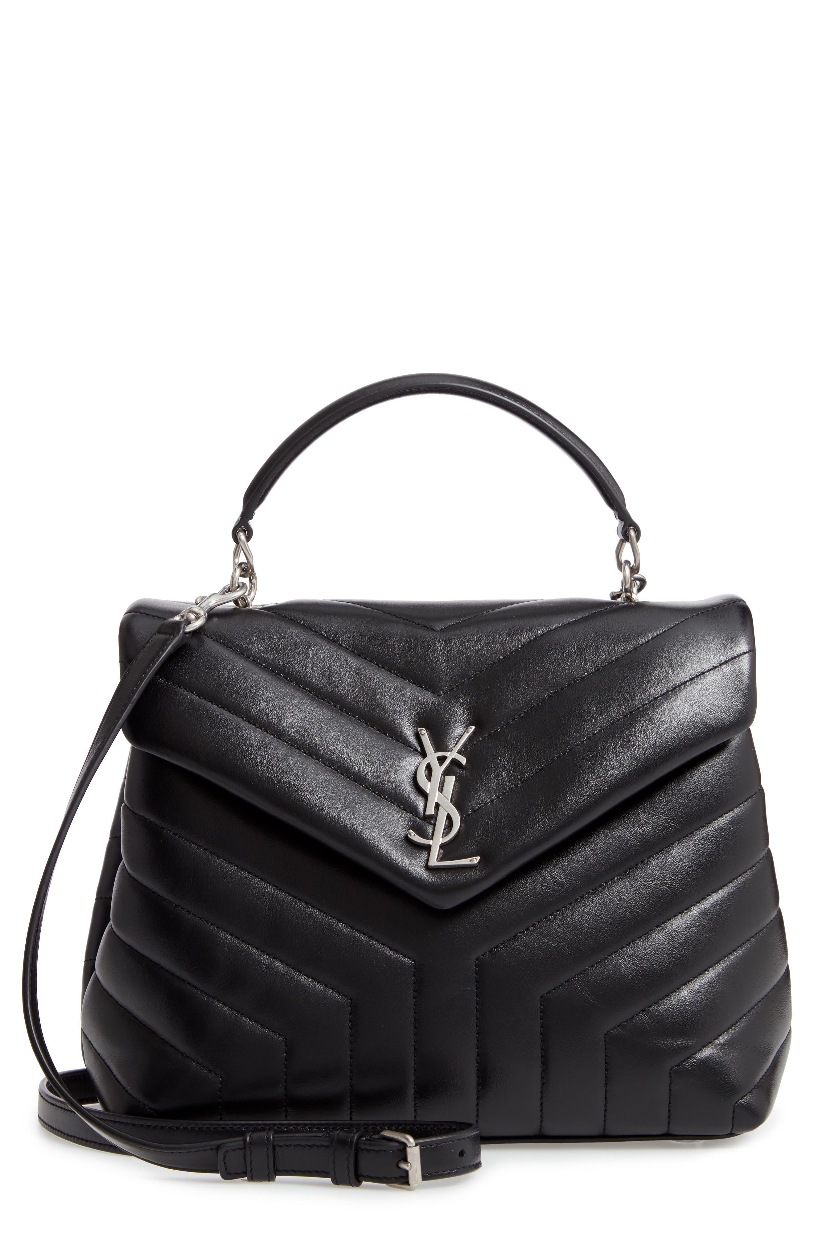 Loulou Leather Top Handle Satchel,                         Main,                         color, NERO/ NERO