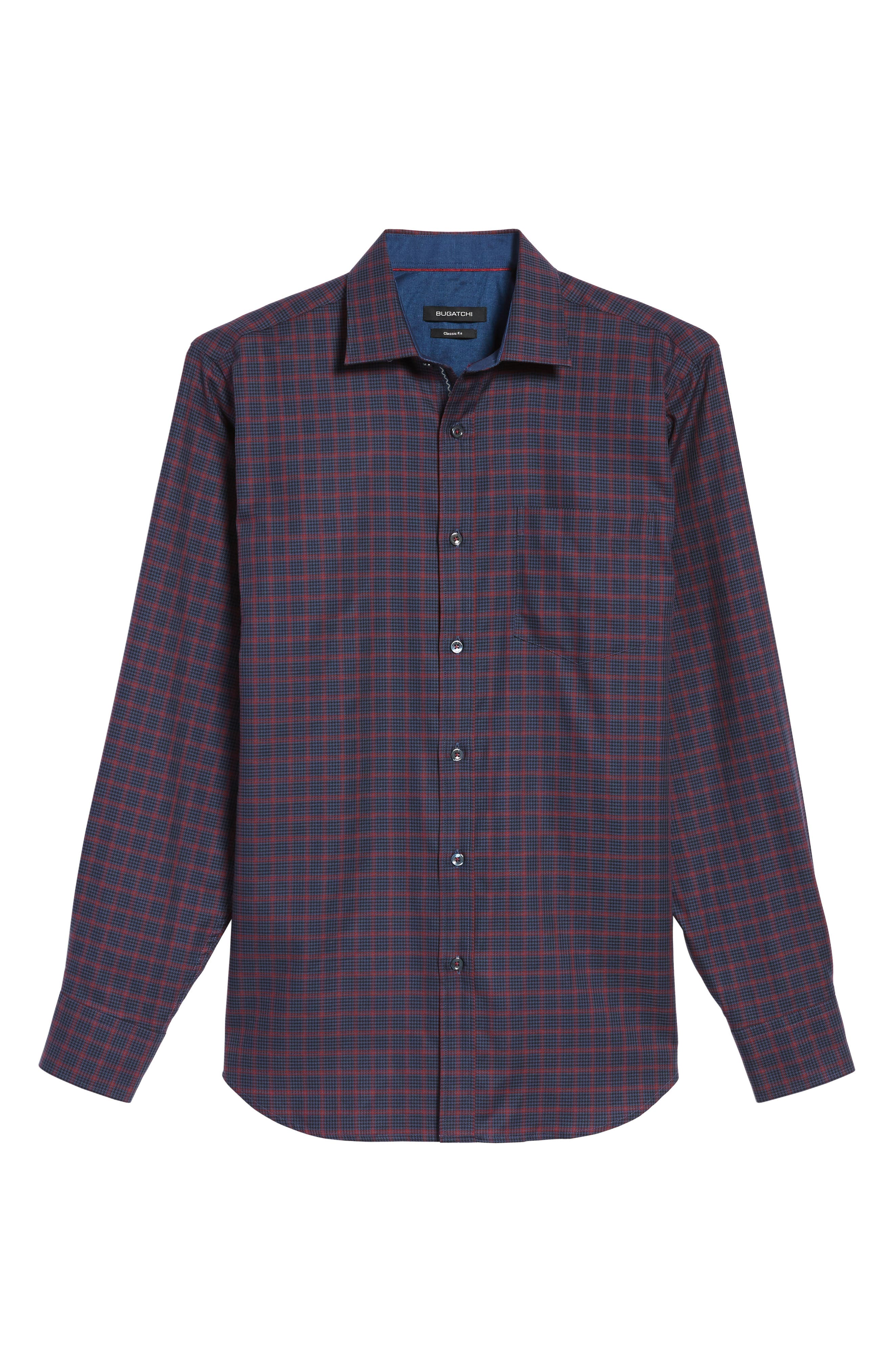 Classic Fit Houndstooth Check Sport Shirt,                             Alternate thumbnail 6, color,