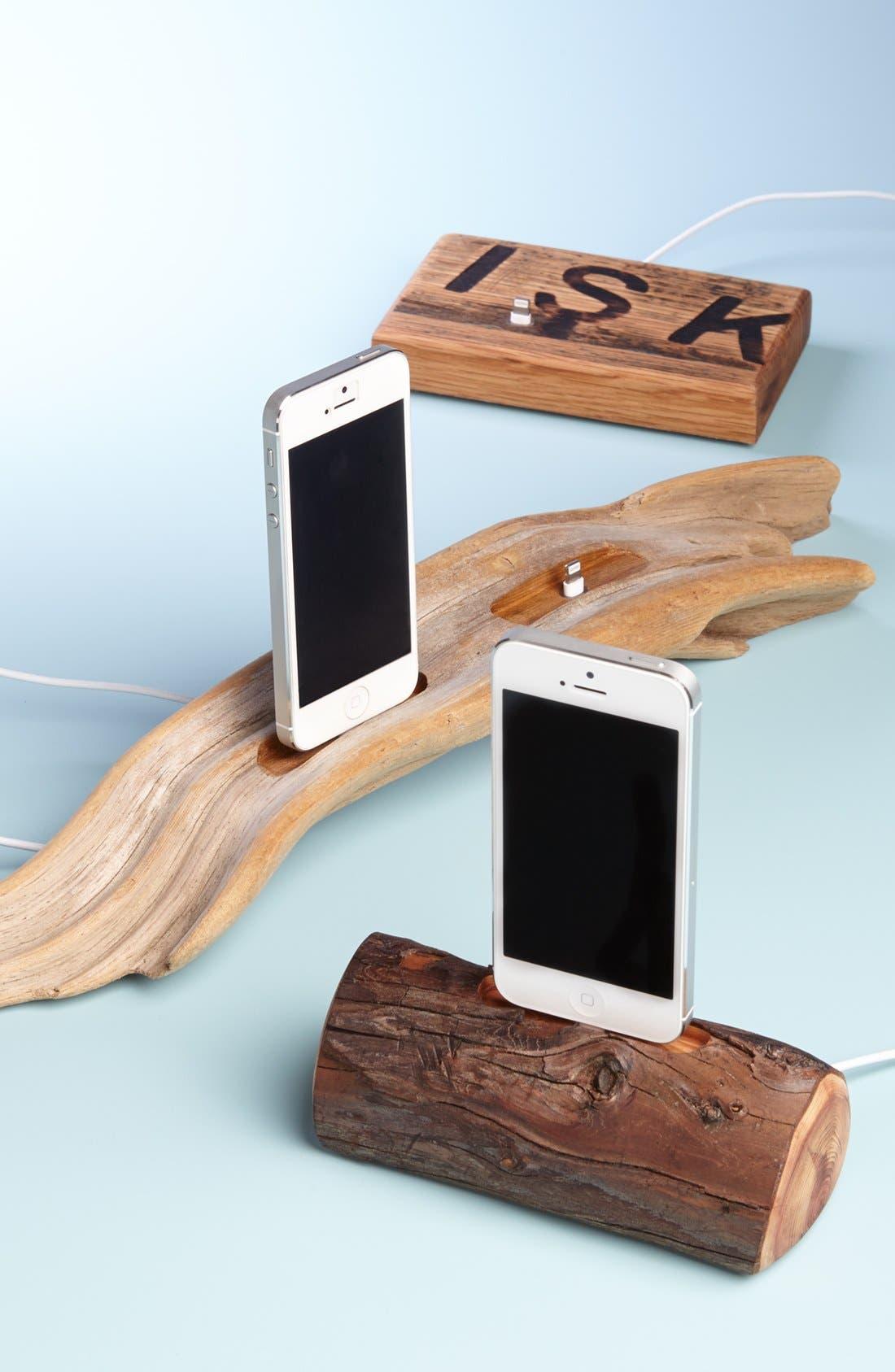 Repurposed Oak Whiskey Barrel iPhone 5 Dock,                             Alternate thumbnail 4, color,