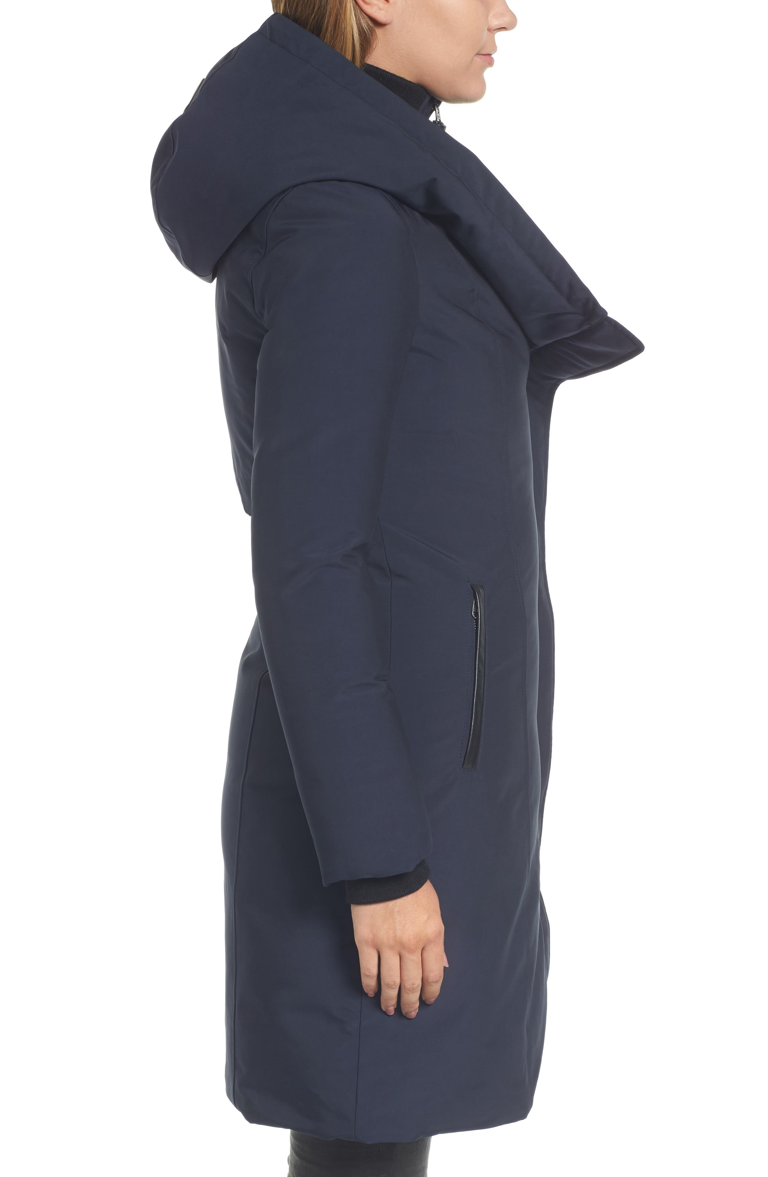 Hooded Asymmetrical Down Coat with Inset Bib,                             Alternate thumbnail 6, color,