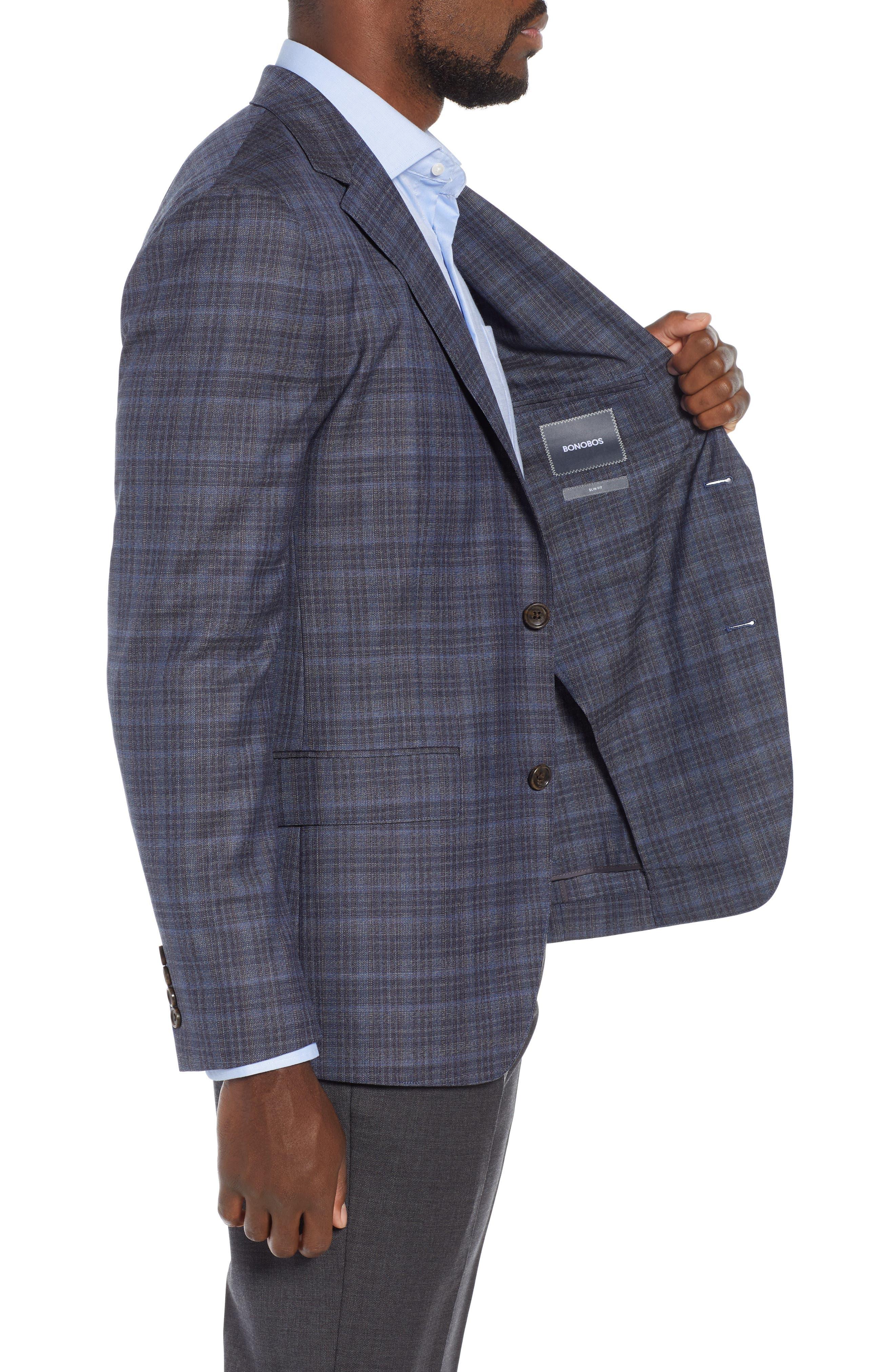 Slim Fit Unconstructed Plaid Sport Coat,                             Alternate thumbnail 3, color,                             GREY PLAID